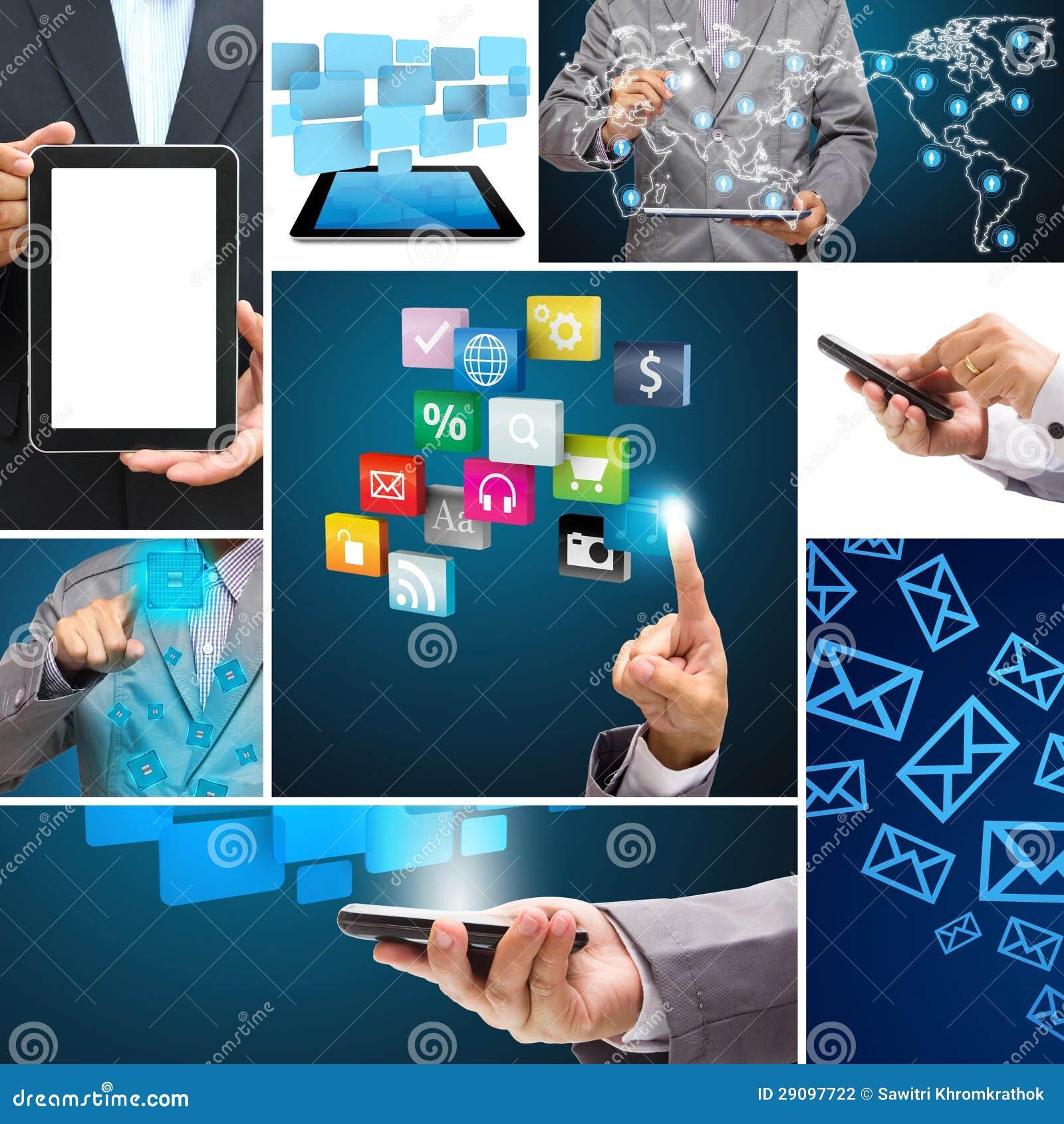 Kolaż podaniowy związek w globalnych ogólnospołecznych sieciach