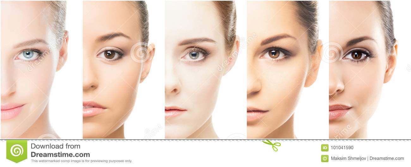Kolaż różni portrety młode kobiety w makeup