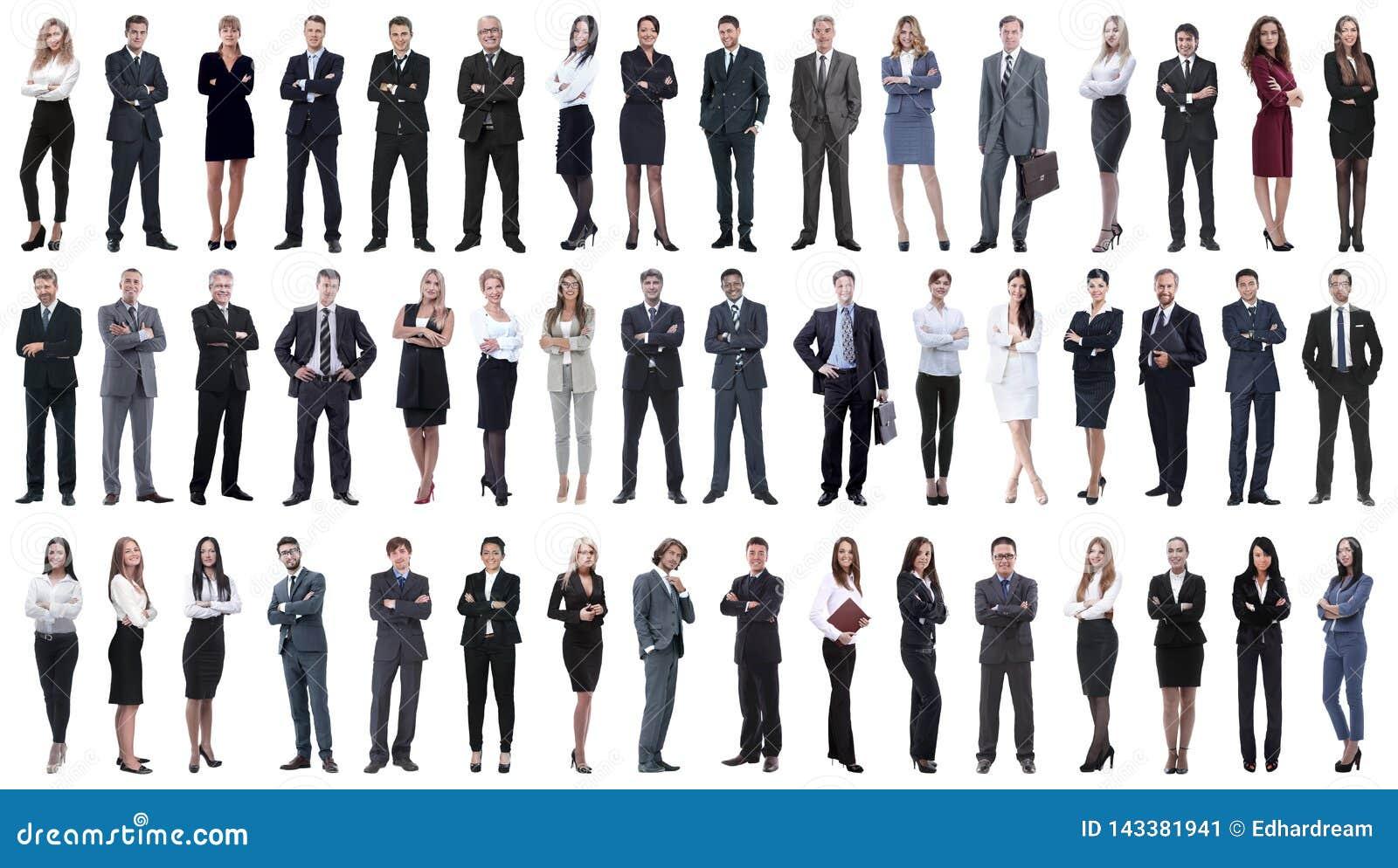 Kolaż różnorodność ludzie biznesu stoi z rzędu