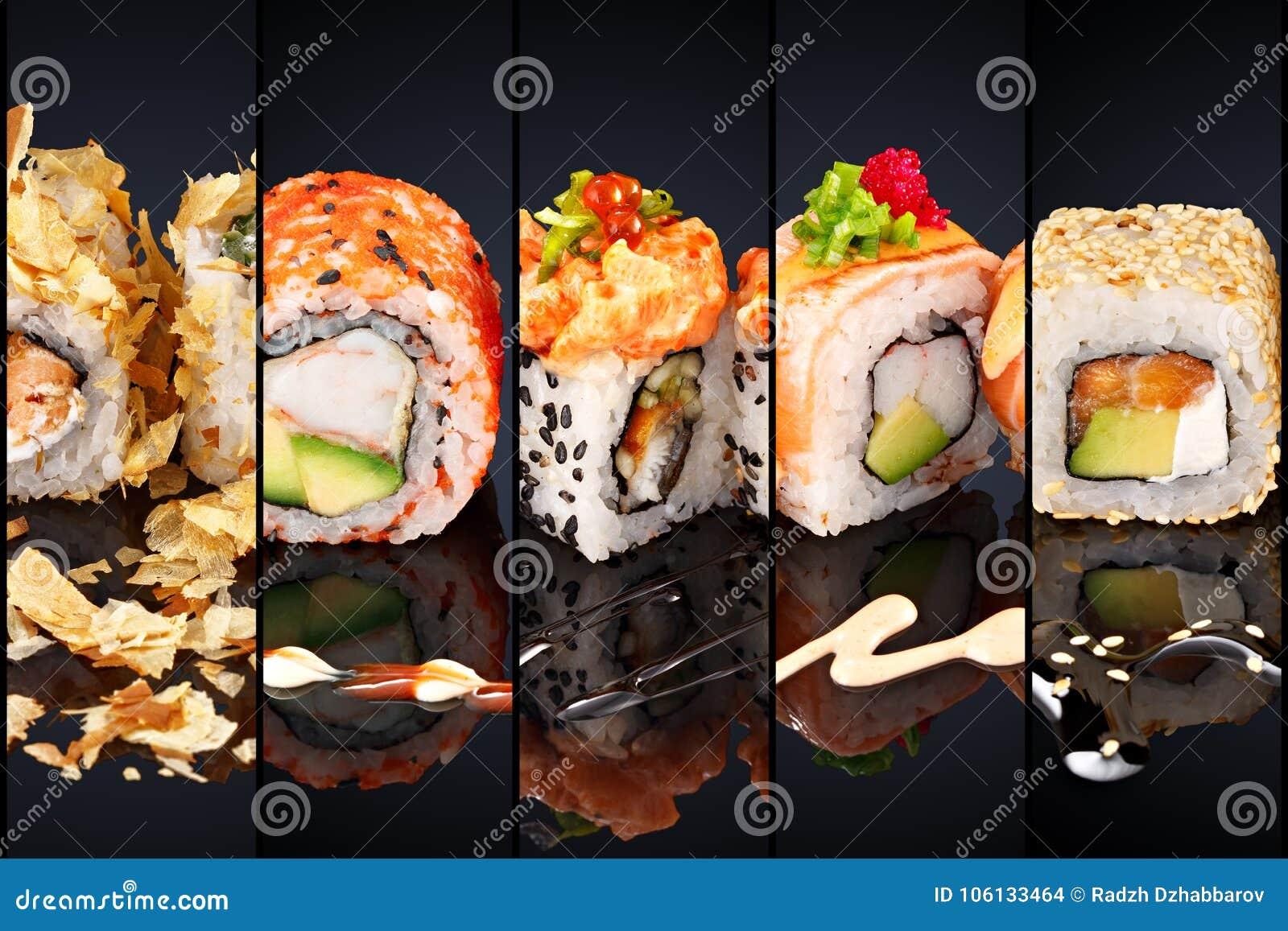 Kolaż różnorodny suszi japońskiej restauraci menu na czarnym tle