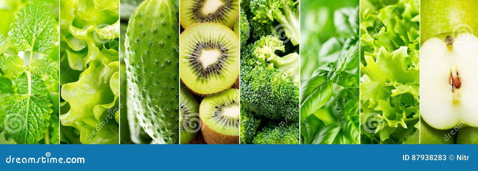Kolaż różnorodny zielony jedzenie