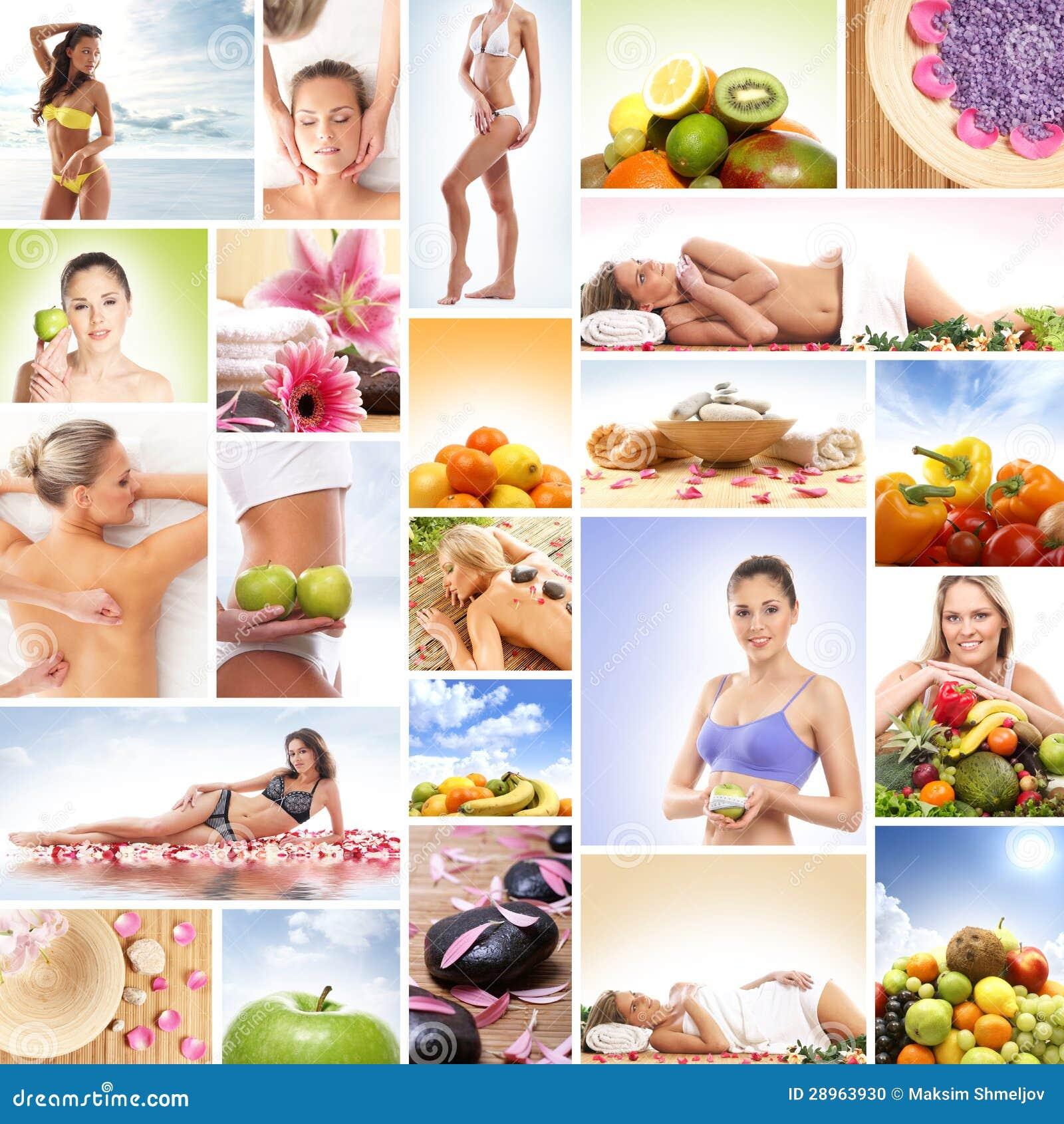 Kolaż wizerunki z świeżymi owoc i relaksującymi kobietami