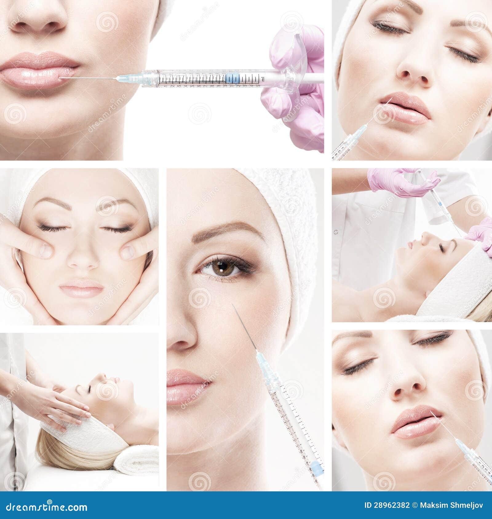 Kolaż wizerunki z młodą kobietą na botox procedurze