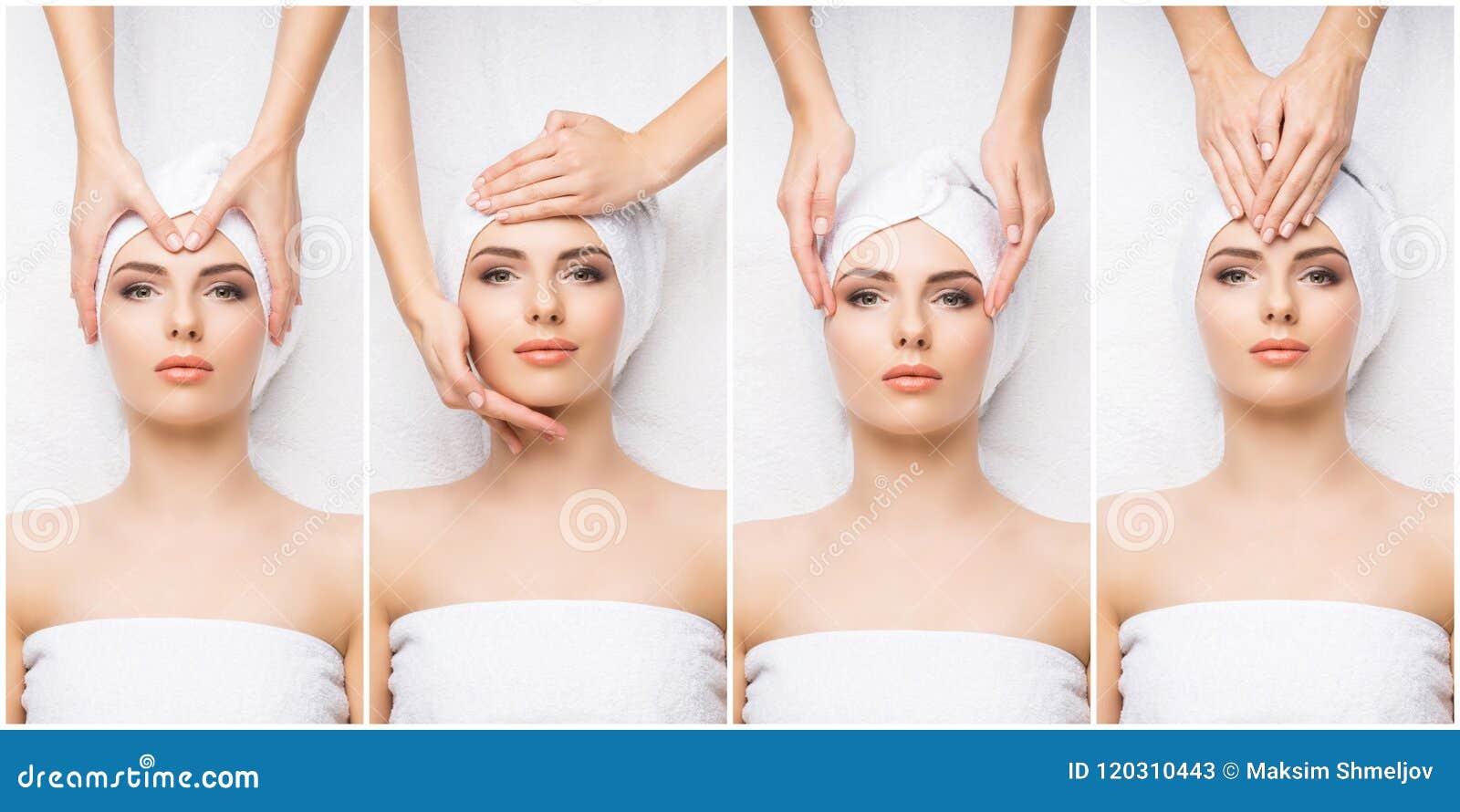 Kolaż z młodą i zdrową kobietą relaksuje w zdroju salonie Dziewczyna dostaje tradycyjną orientalną aromat terapię i
