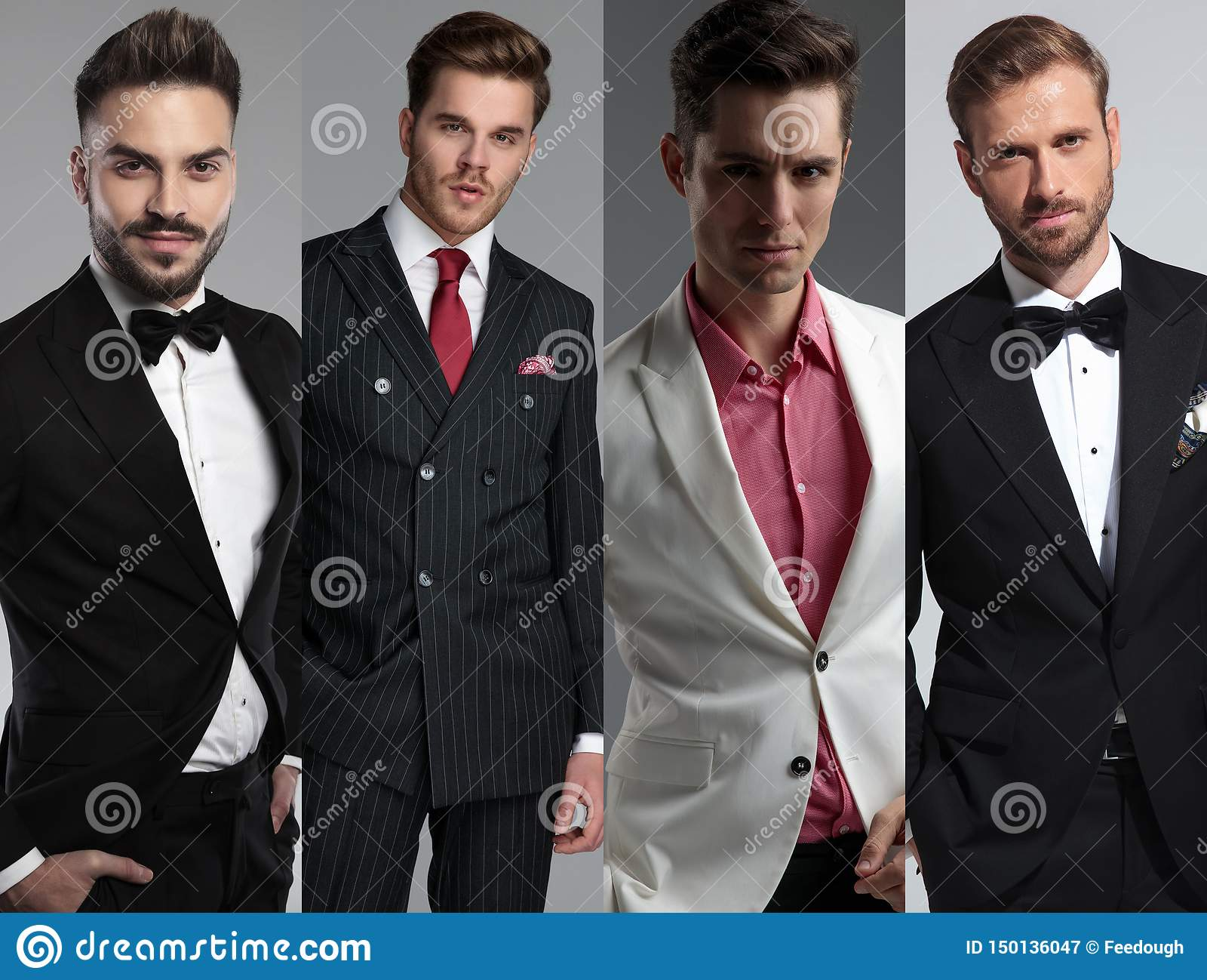 Kolażu wizerunek cztery różnego nowożytnych mężczyzn portreta