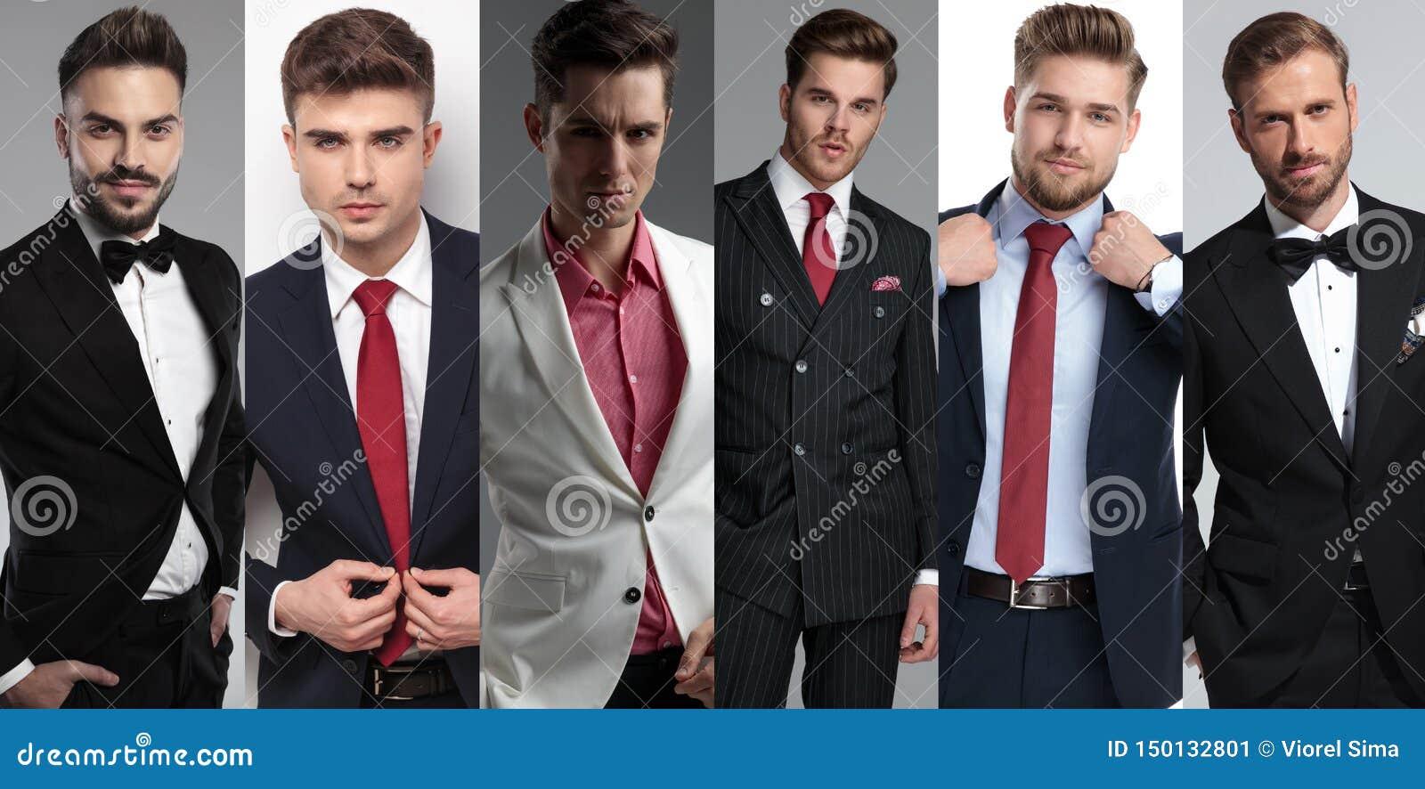 Kolażu wizerunek sześć różnych eleganckich młodych człowieków jest ubranym kostiumy