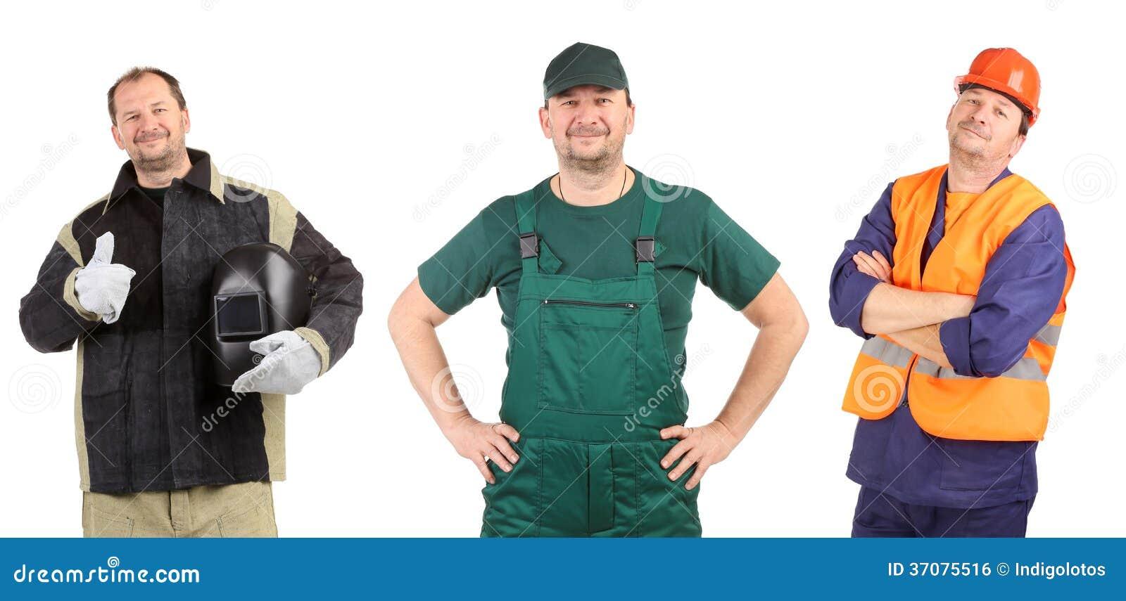 Download Kolaż trzy pracownika. zdjęcie stock. Obraz złożonej z profesjonalizm - 37075516