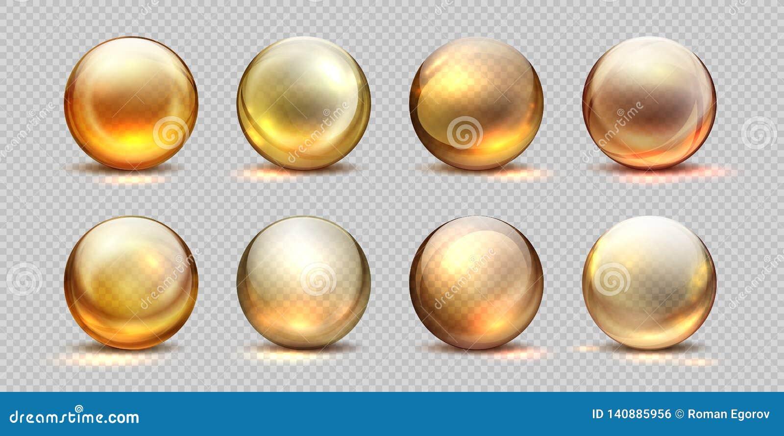 Kolagen złote piłki Realistyczny kosmetyka olej, ciekła serum kropla, przejrzyste odosobnione 3D pigułki Wektorowy żółty kolagen