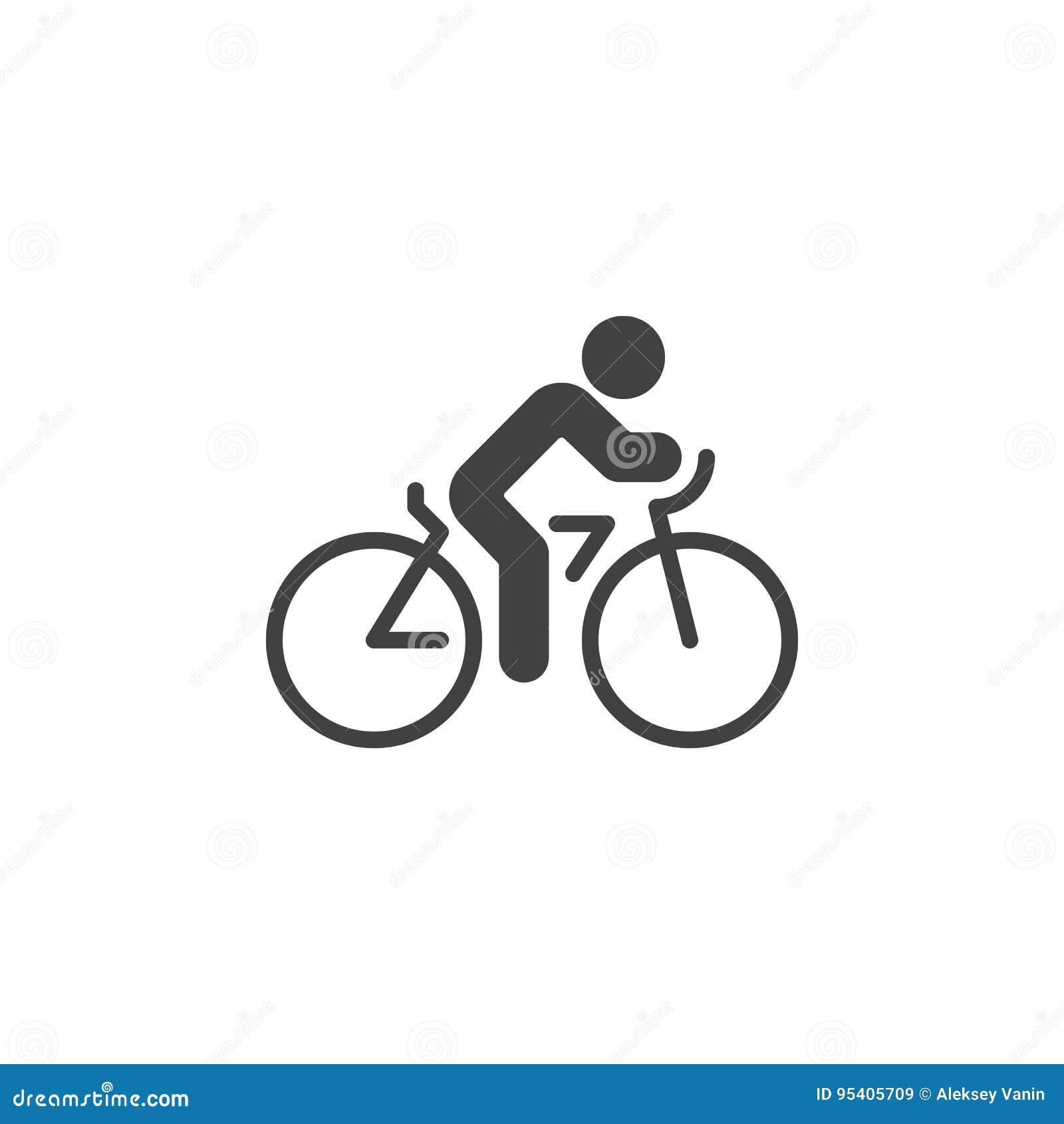 Kolarstwo ikony wektor, rowerowy stały mieszkanie znak, piktogram odizolowywający na bielu