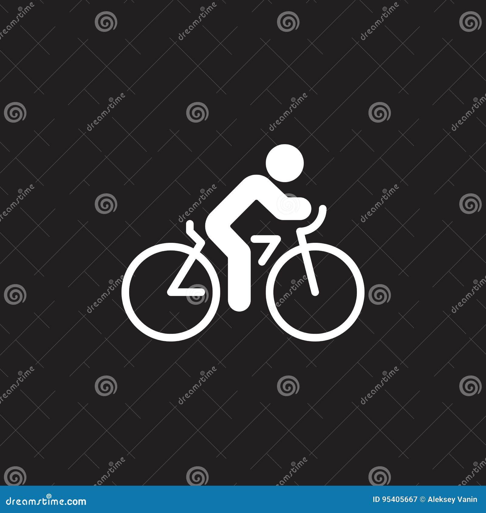 Kolarstwo ikony wektor, rowerowy stały mieszkanie znak, piktogram odizolowywający na czerni