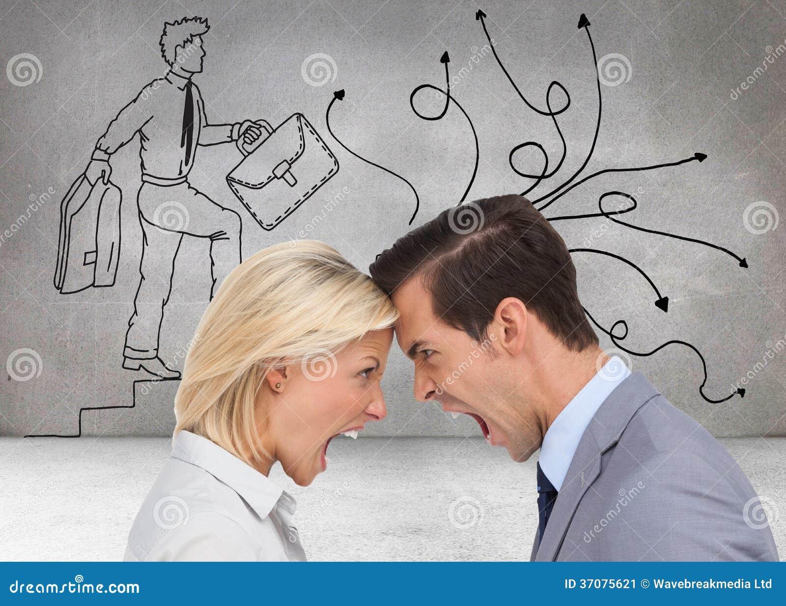 Download Koledzy Kłóci Się Głowę Przeciw Głowie Obraz Stock - Obraz złożonej z bizneswoman, charcica: 37075621