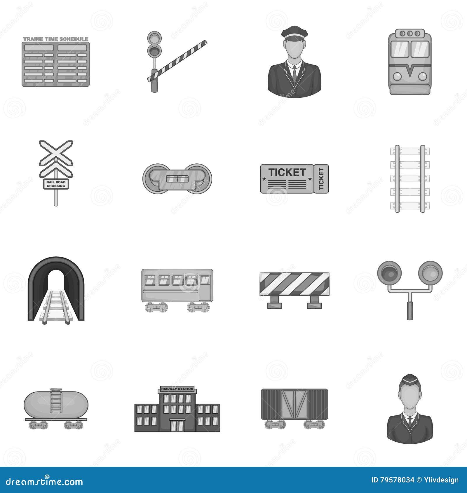 Kolejowe ikony ustawiać, czarny monochromu styl