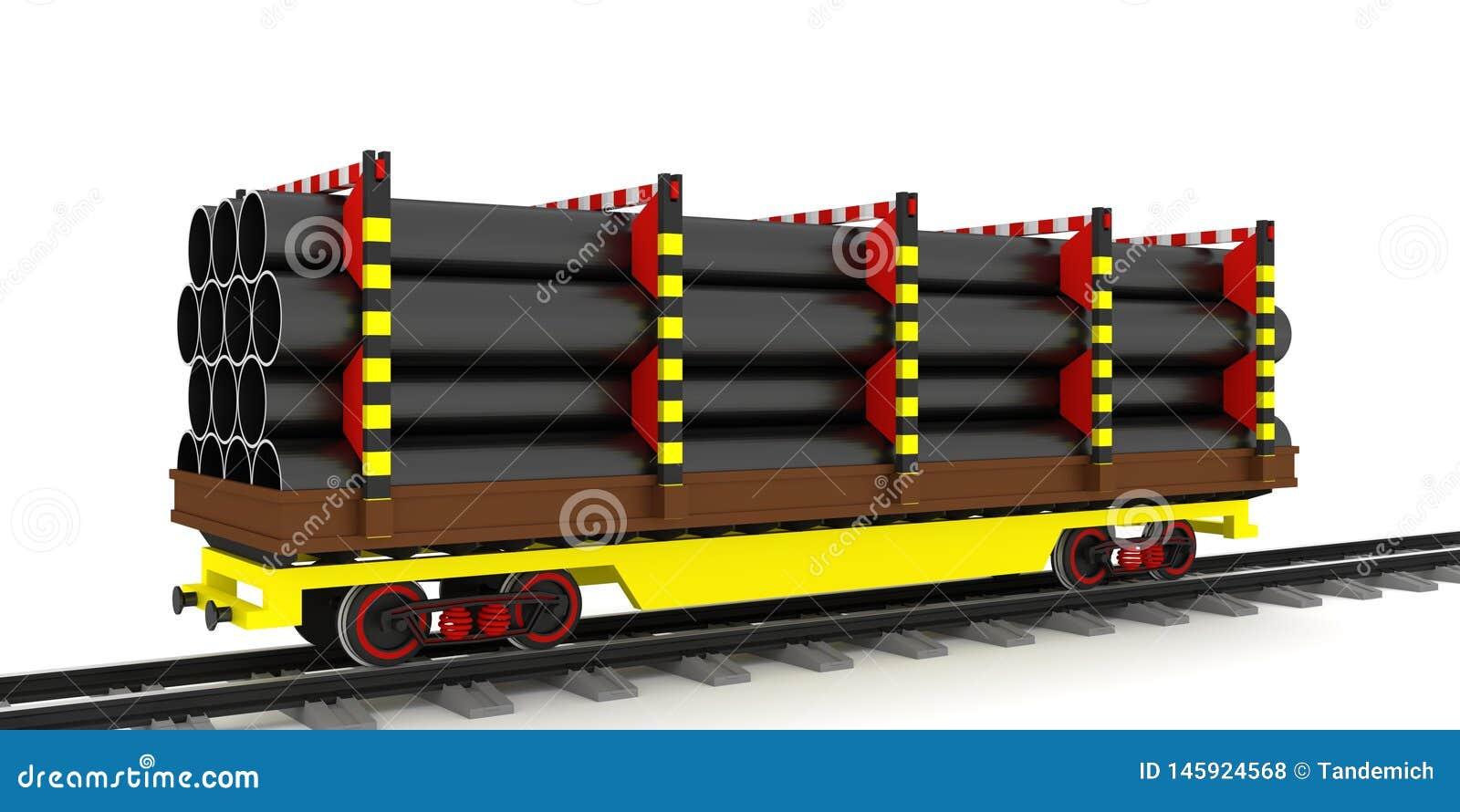 Kolejowy frachtowy furgon, transport stalowe drymby