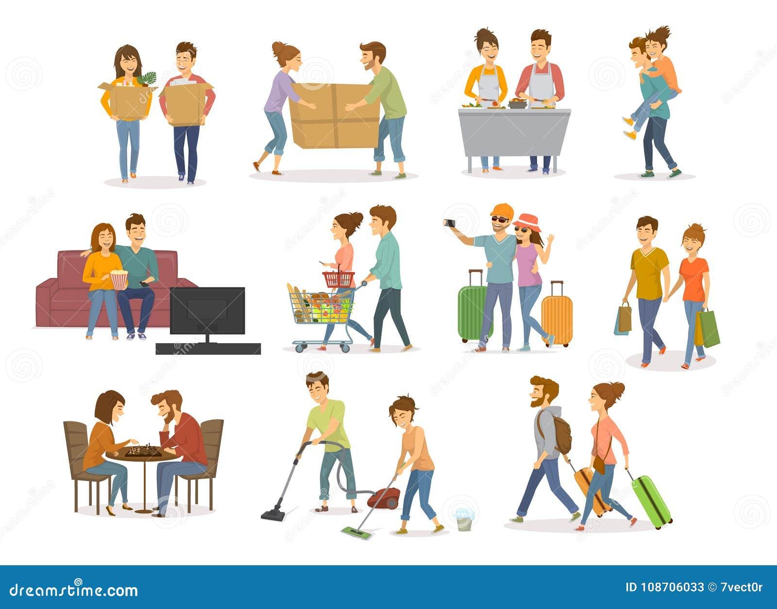 Kolekcja śliczny par aktywność, mężczyzna i kobiety zakupy w centrum handlowym, supermarket, rusza się w nowym domu dalej, cleani