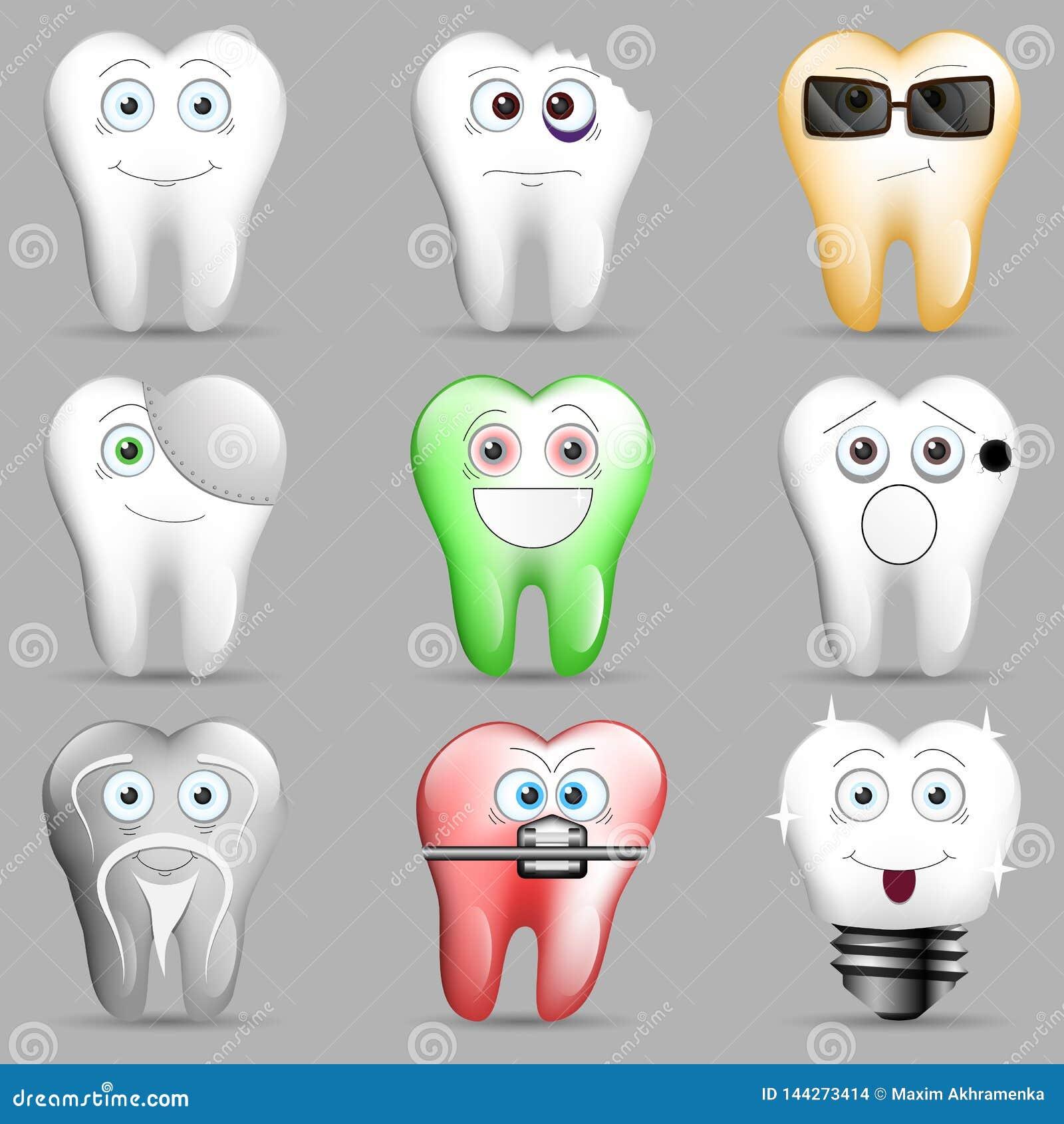 Kolekcja śmieszni toothy smileys