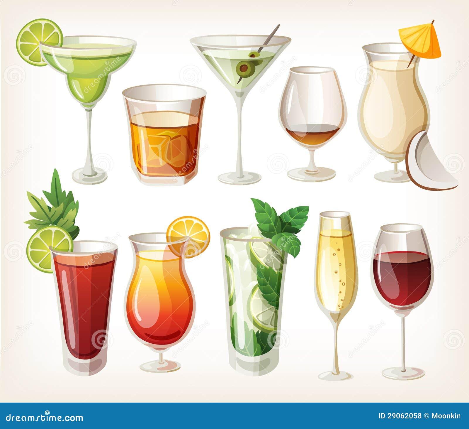 Kolekcja alkoholów napoje.