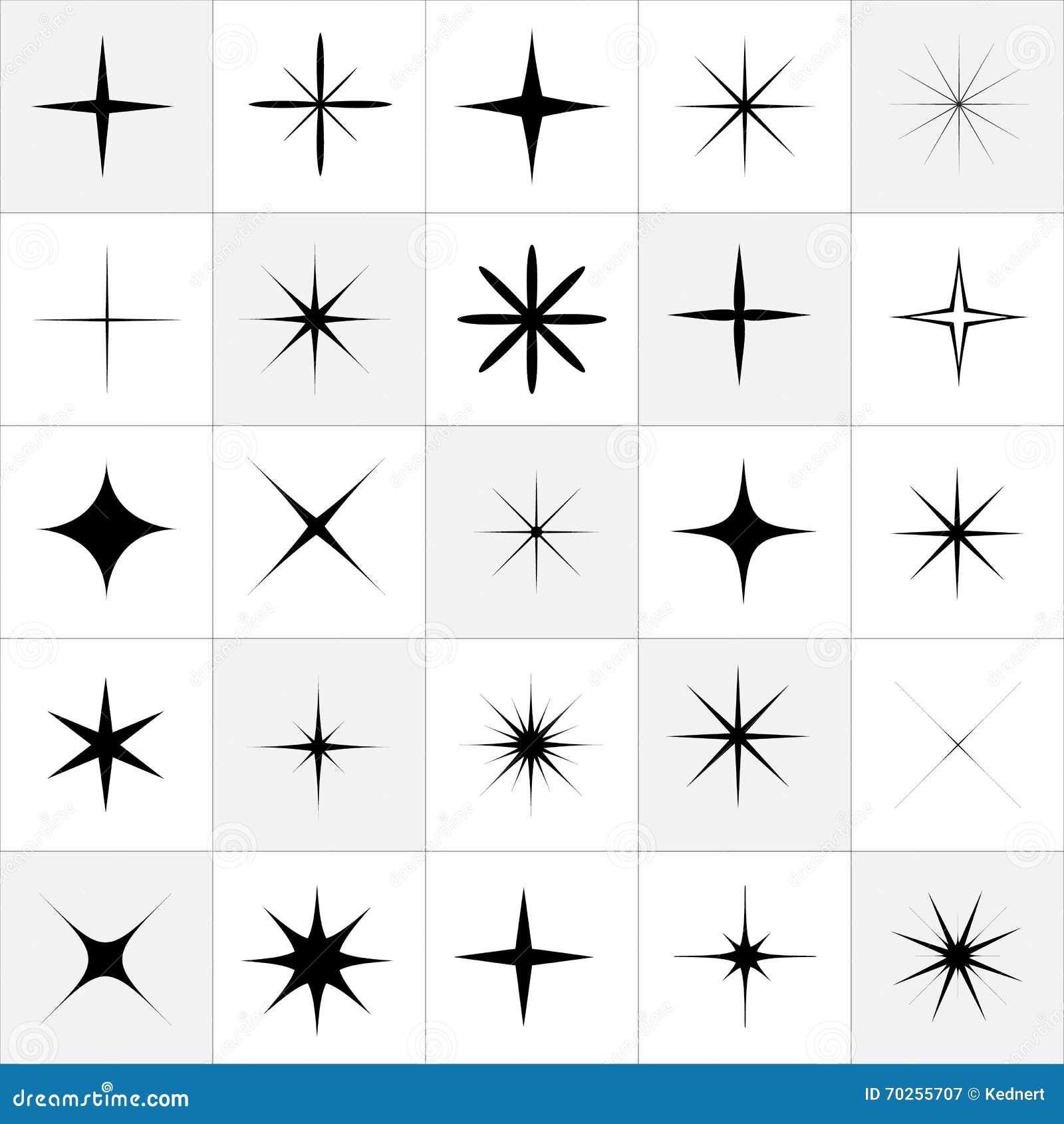 Kolekcja błyskotanie wektor Błyska białych symbole Błyskotanie gwiazda Symbole błyska gwiazdy Set błyska gwiazdę