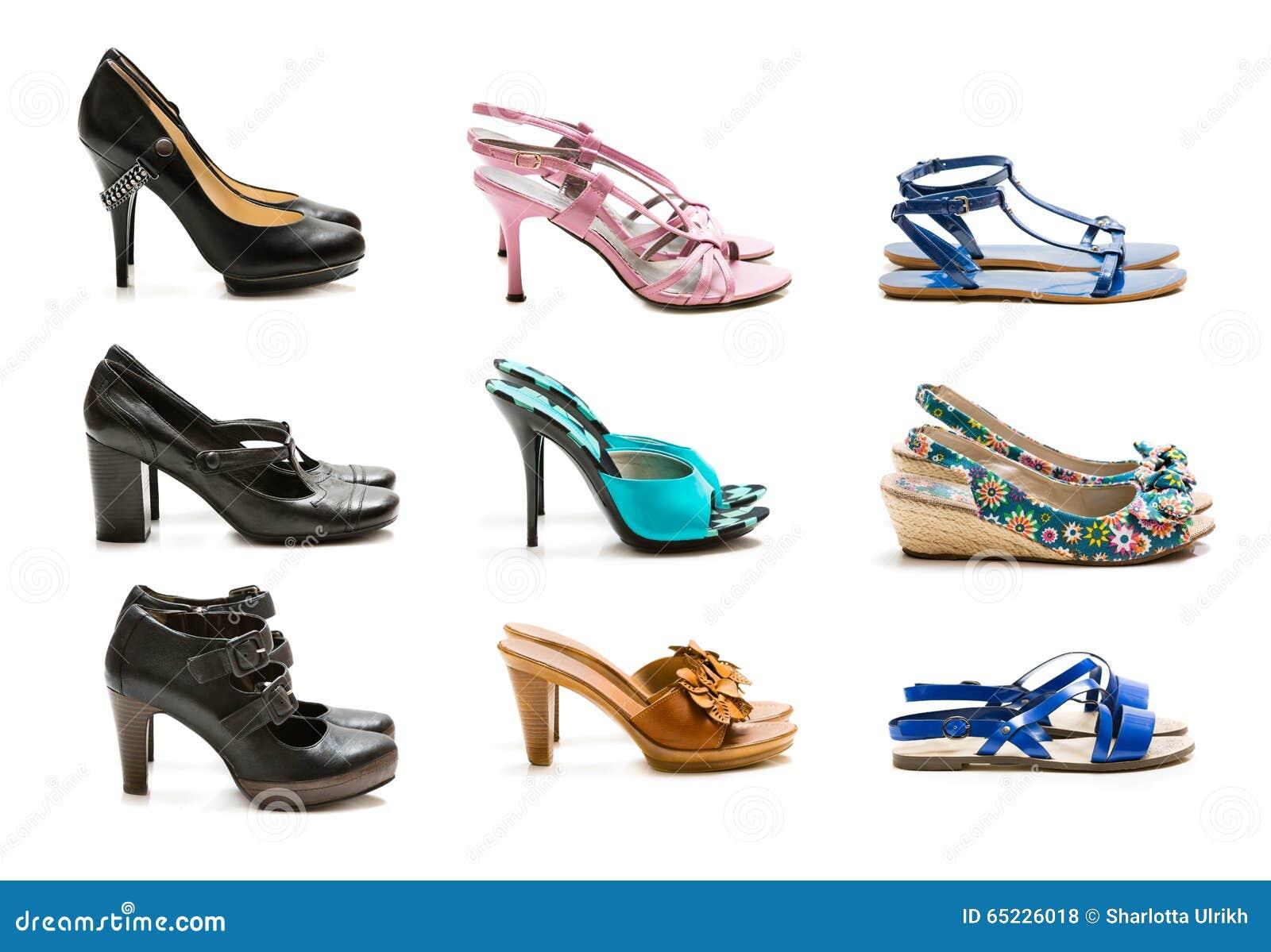 Kolekcja buty odizolowywający na białym tle