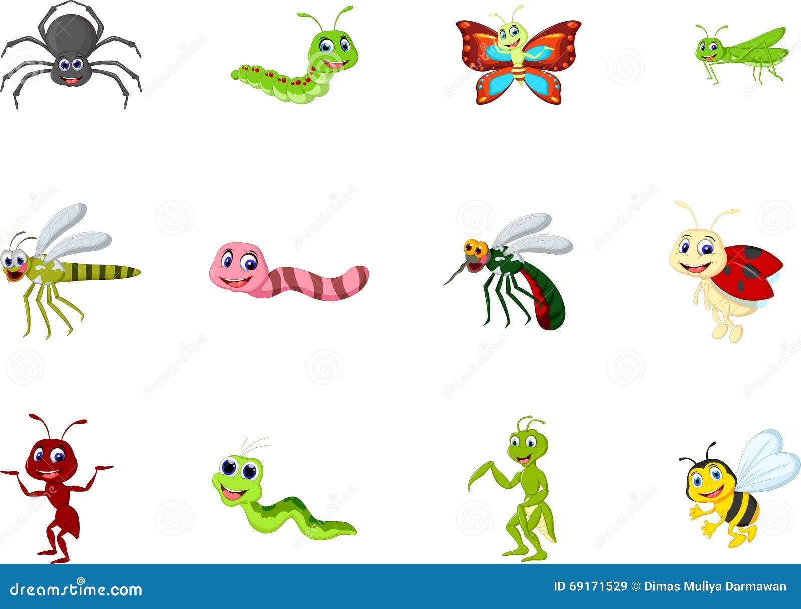 Kolekcja insekt kreskówka dla ciebie projektuje