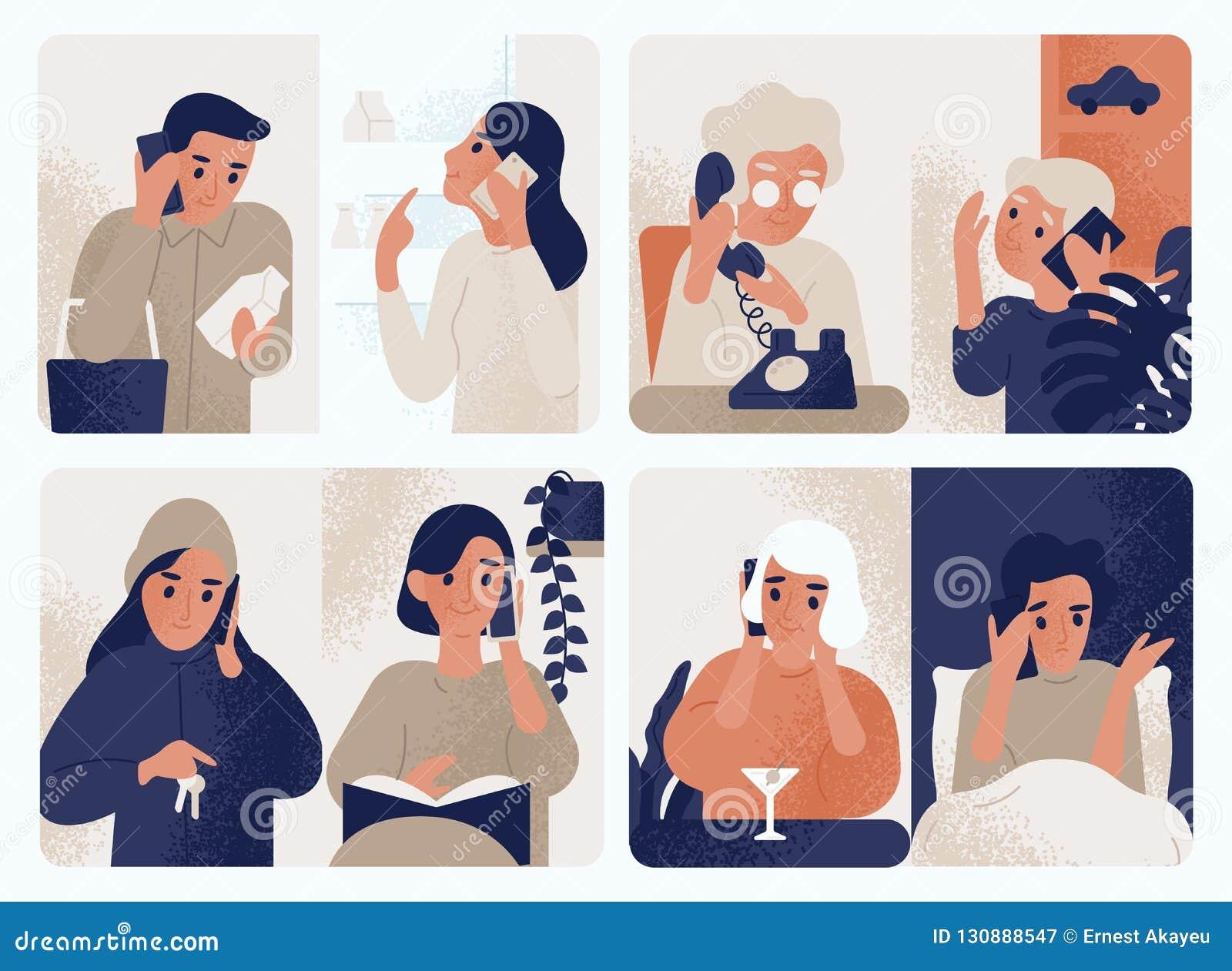 Kolekcja ludzie opowiada na telefonie komórkowym Plik mężczyźni i kobiety komunikuje przez smartphone Set telefon
