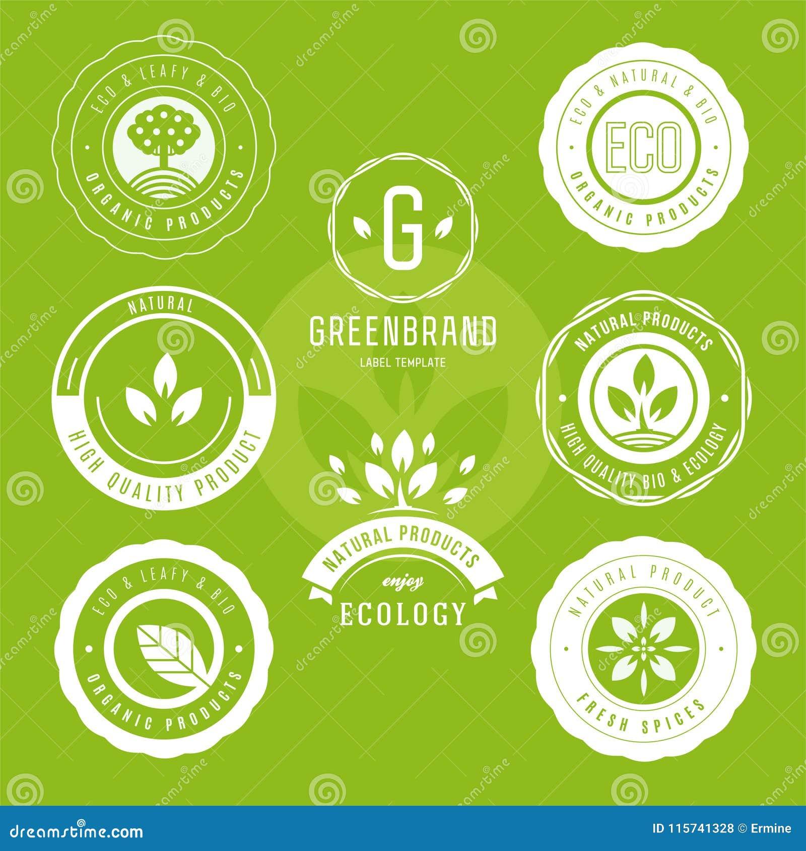Kolekcja majchery i odznaki dla naturalnych produktów i eco jedzenia Wektorowe ilustracje dla ekologia składników