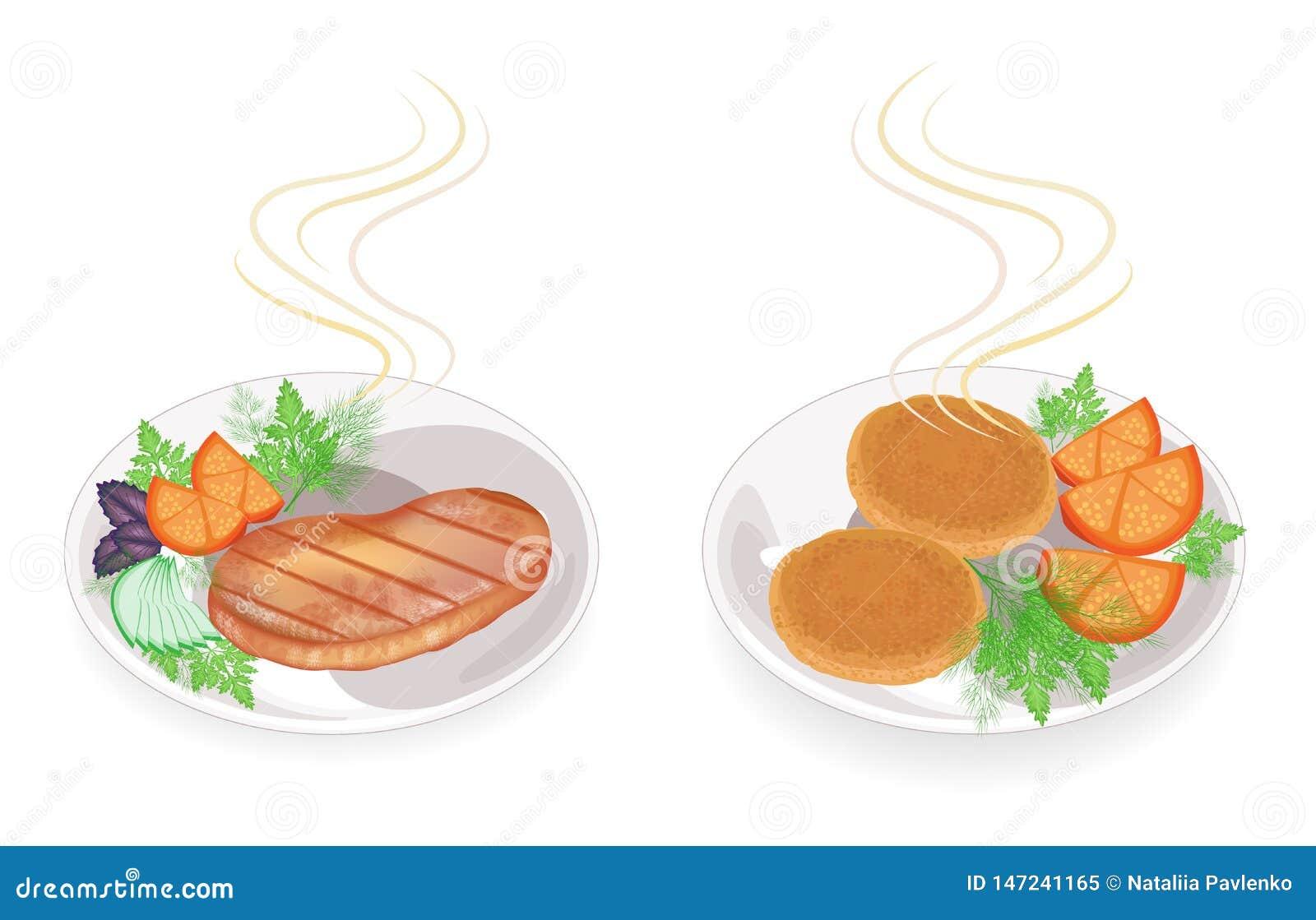 Kolekcja Na talerzu gorący smażący mięsny stek i cutlets Garnirunku pomidor, pietruszka, koper Smakowity i od?ywczy jedzenie Set