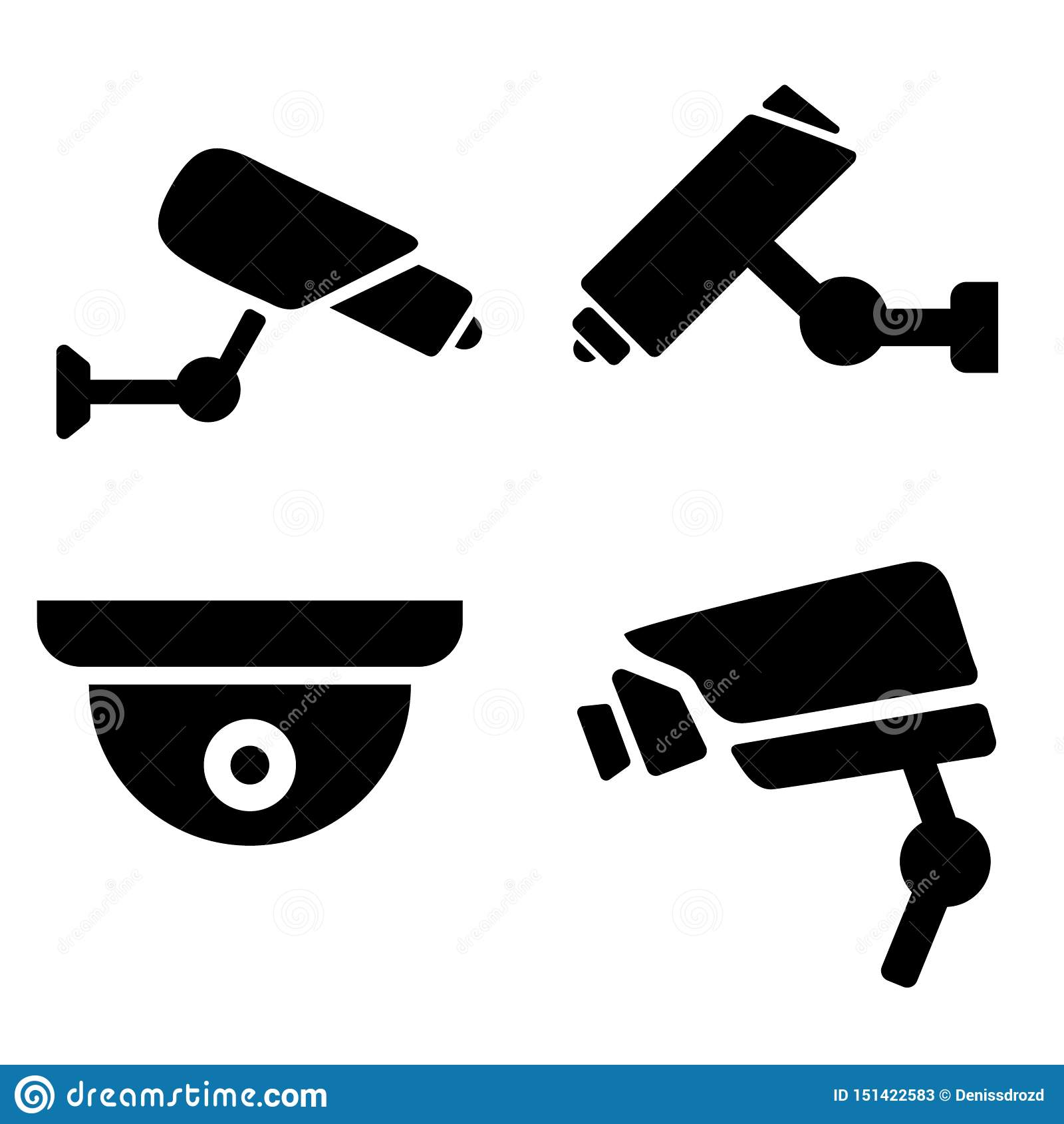 Kolekcja nowożytna CCTV ikona ilustracyjna sylwetka inwigilacji kamery Inwigilacj ikony ustawia?