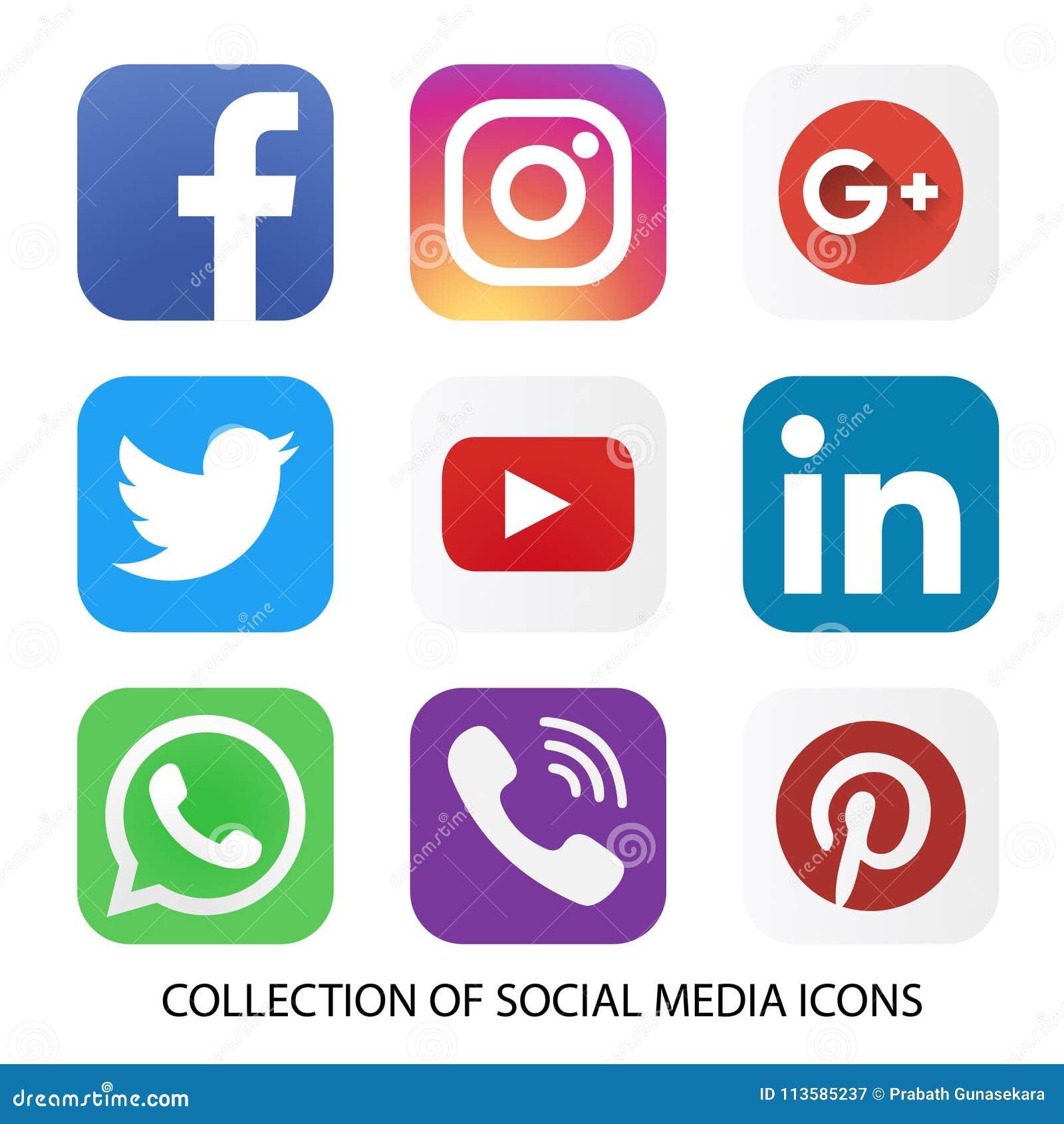 Kolekcja ogólnospołeczne medialne ikony i logowie
