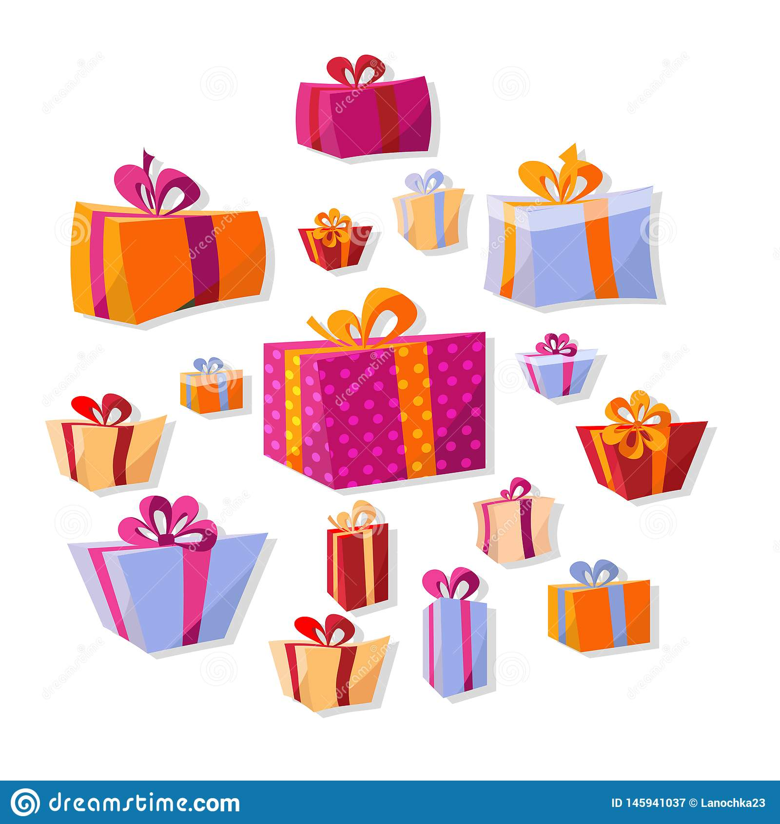 Kolekcja p?ascy tomowi prezent?w pude?ka odizolowywaj?cy na bia?ym tle Nowy Rok i Bo?enarodzeniowy jaskrawy wystr?j w kresk?wce