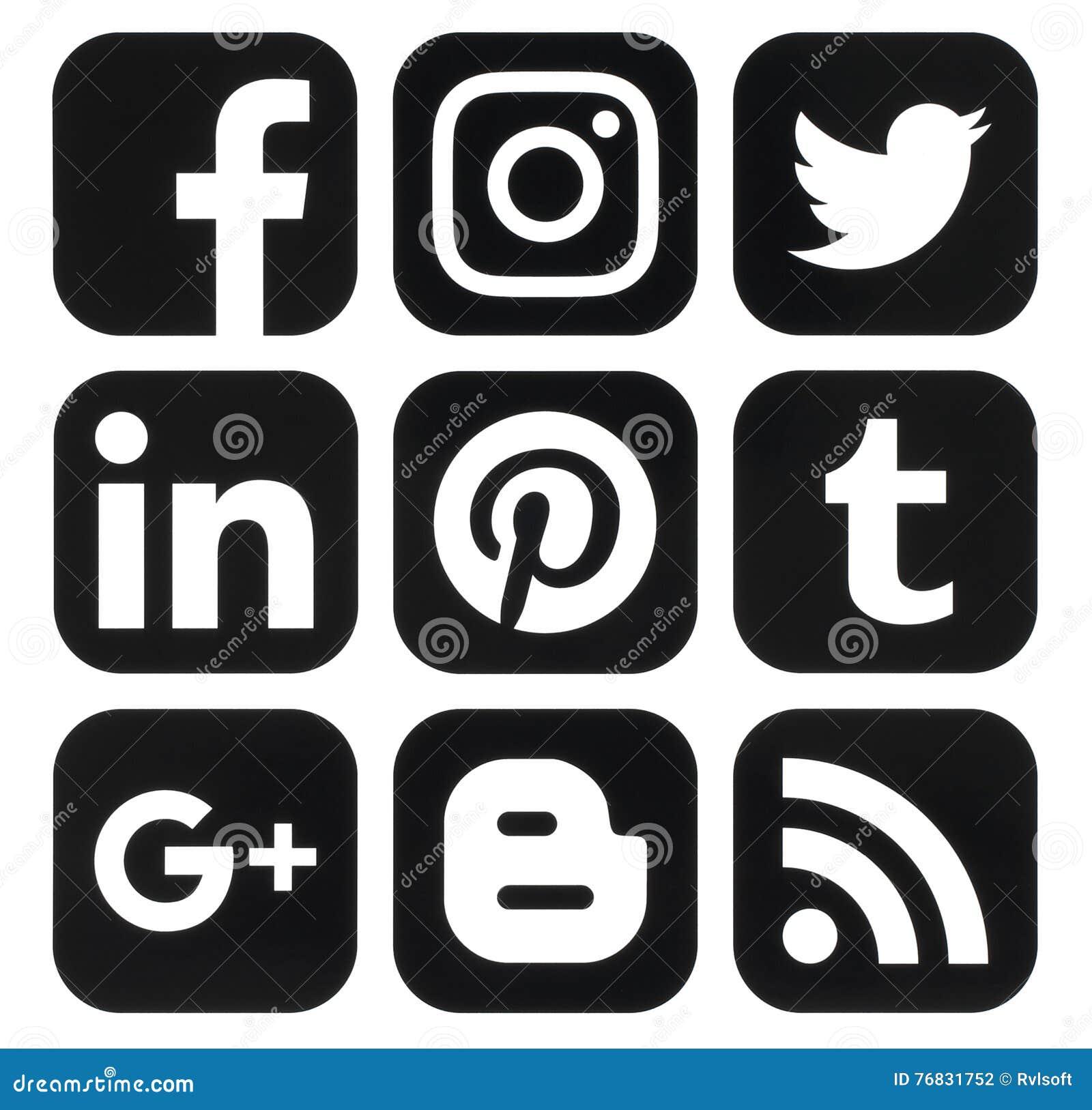 Kolekcja popularni czarni ogólnospołeczni medialni logowie drukujący na papierze