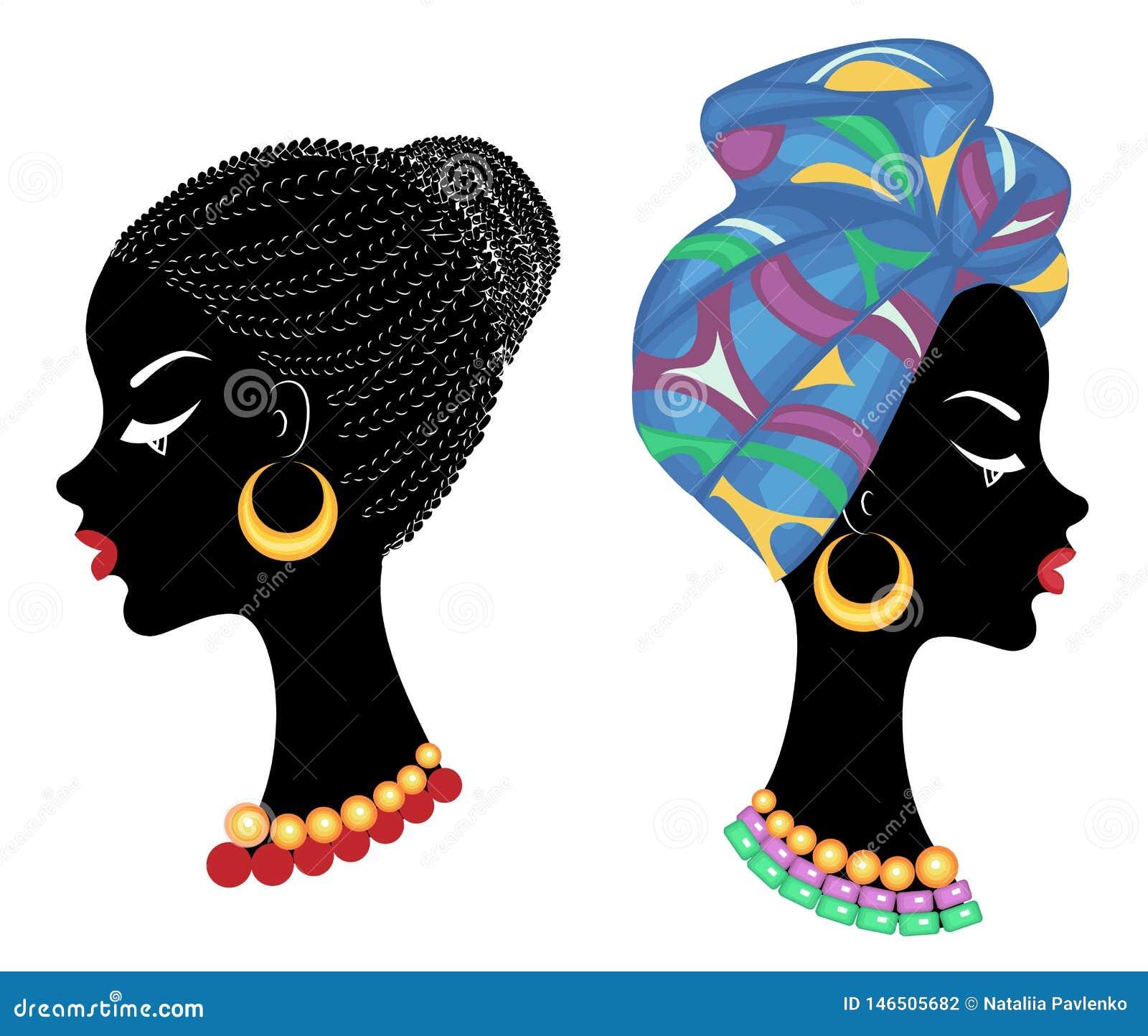 Kolekcja Profiluje g?ow? s?odka dama afroameryka?ska dziewczyna z pi?knym uczesaniem Dama jest ubranym turban, obywatel