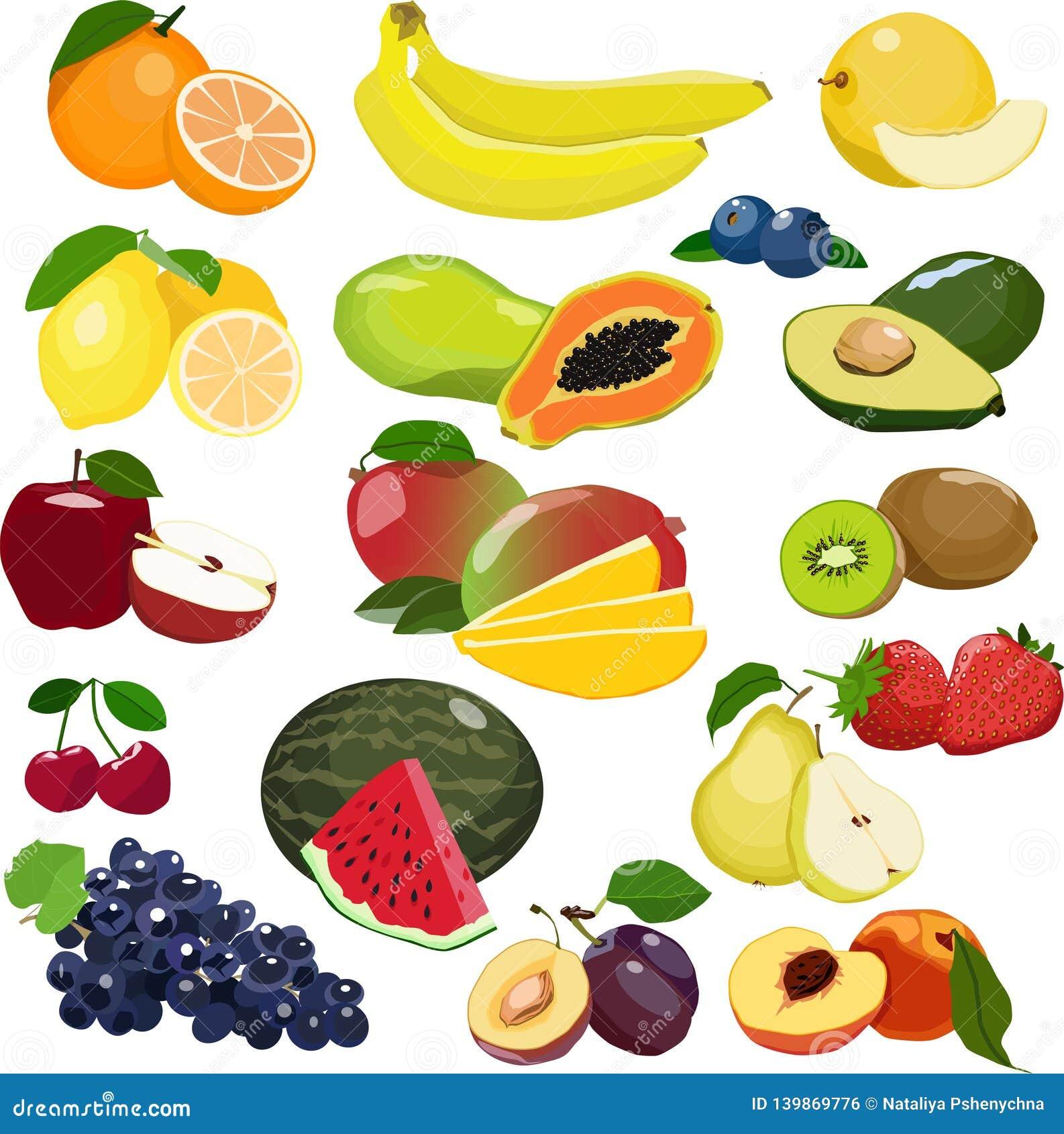 Kolekcja różne owoc odizolowywać na białym tle