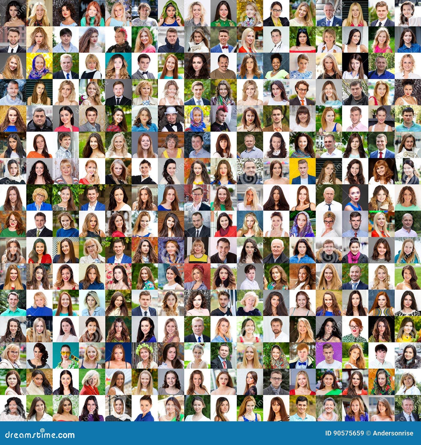 Kolekcja różne caucasian kobiety i mężczyzna rozciąga się od 18