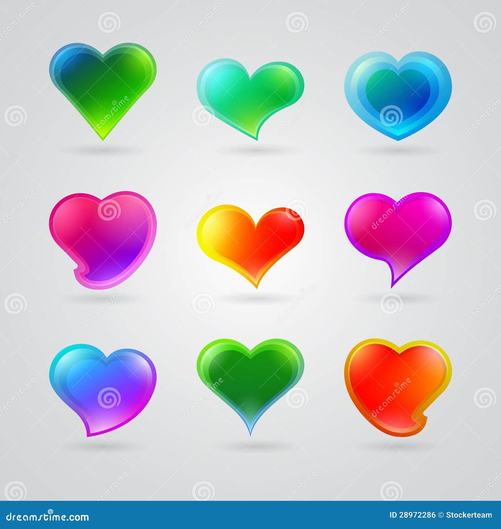 Kolekcja różni kolorów serca