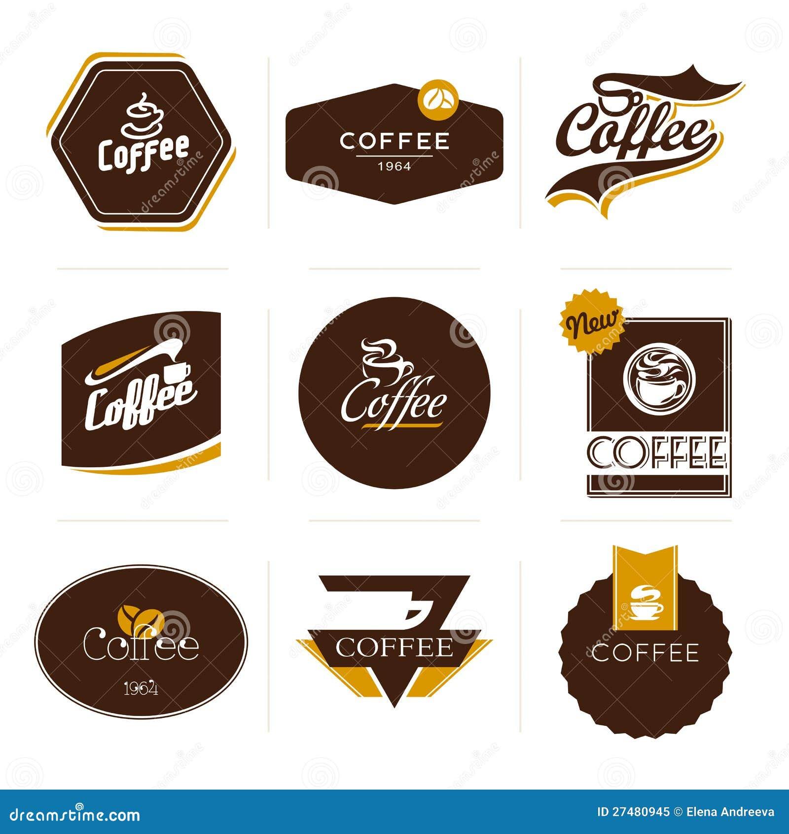 Kolekcja retro projektować kawowe etykietki.