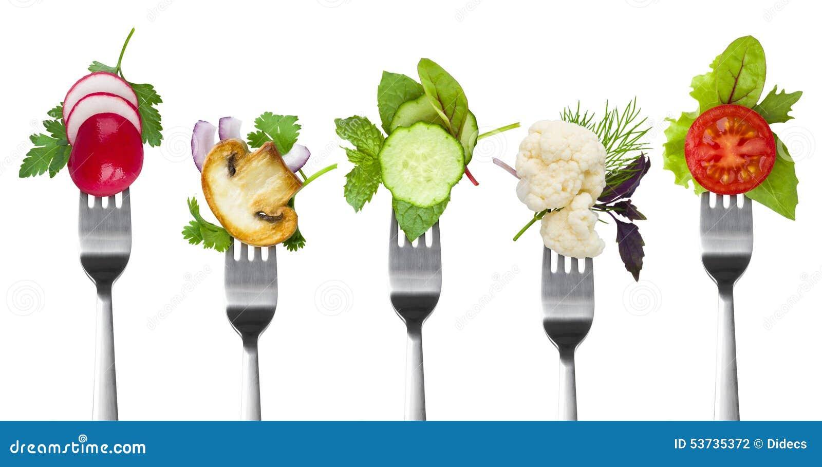 Kolekcja rozwidlenia z ziele i warzywami odizolowywającymi na bielu