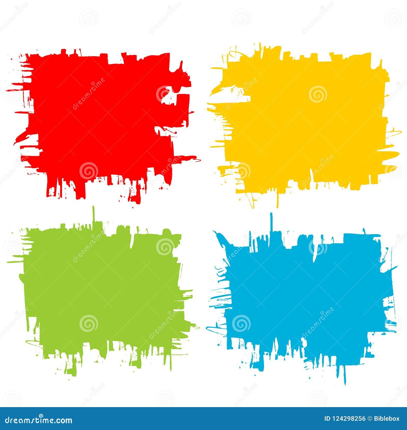 Kolekcja substraty i tła tworzący farbą, uderzenia, muśnięć uderzenia, plamy i kiści farba czarni,