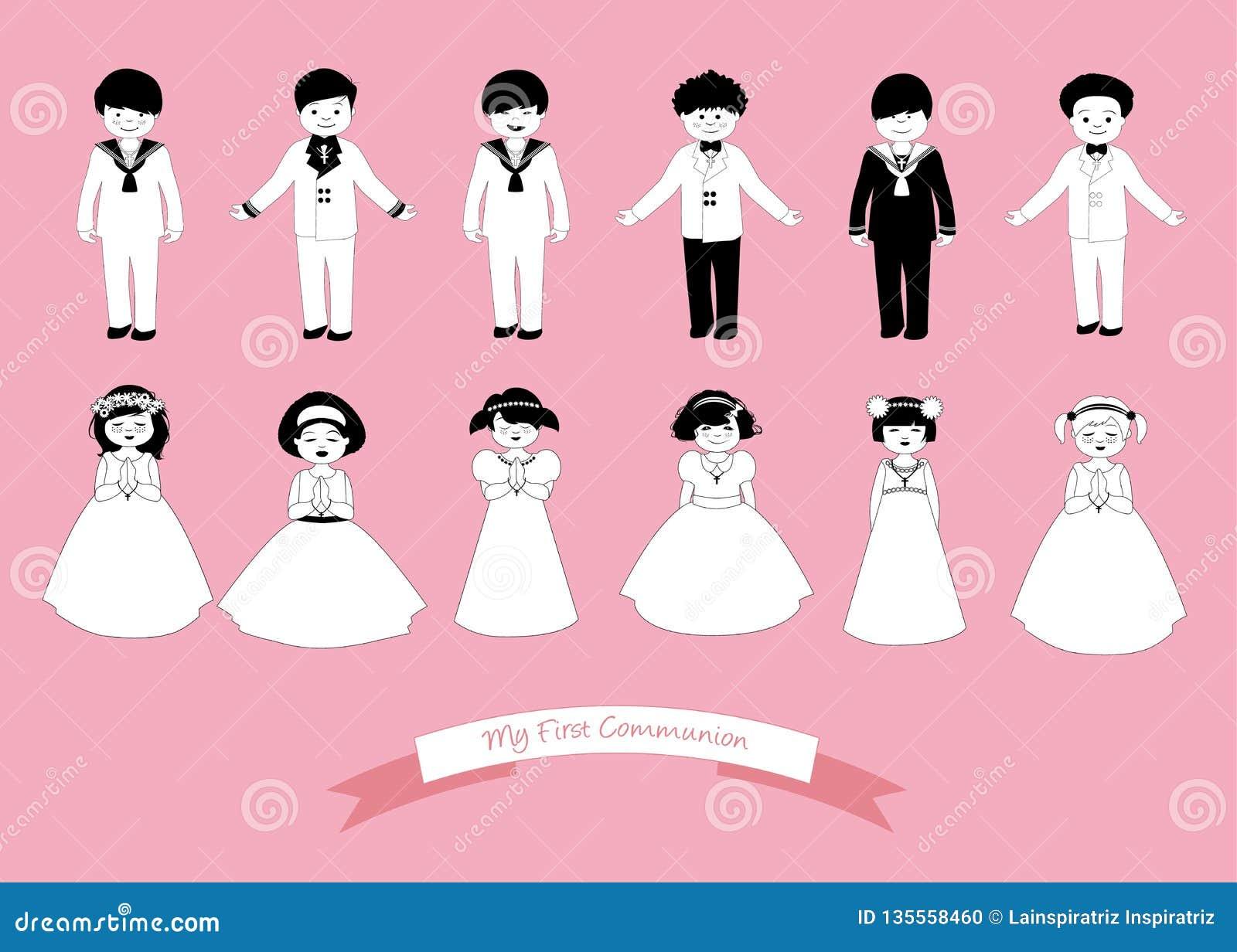 Kolekcja sześć dzieci i sześć dziewczyn jest ubranym Pierwszy komunię odziewa