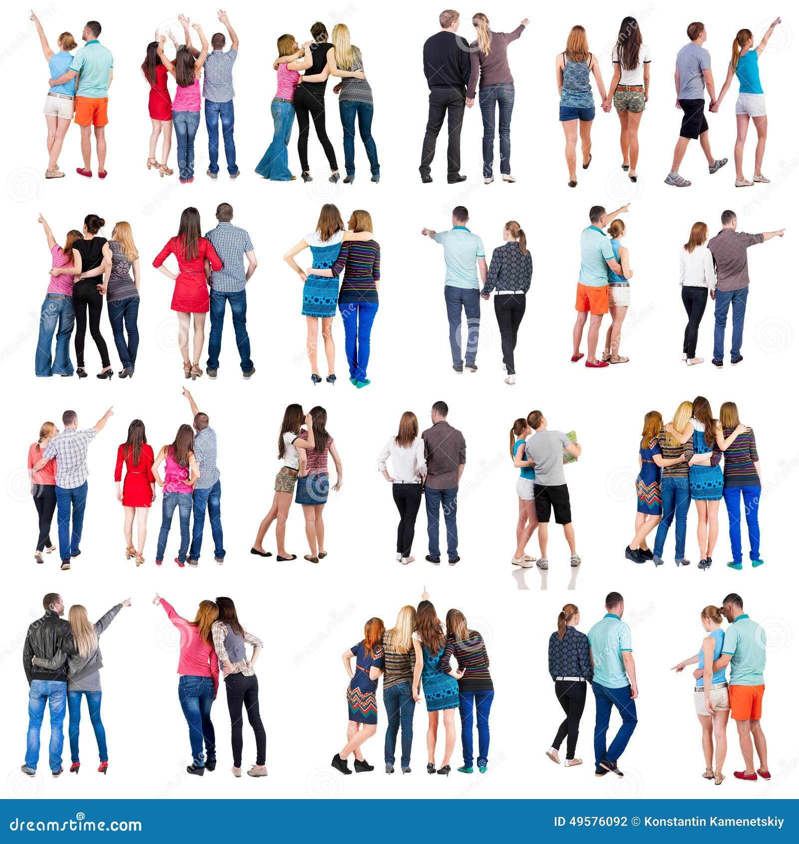 Kolekcja Tylny widok grupowi ludzie Set