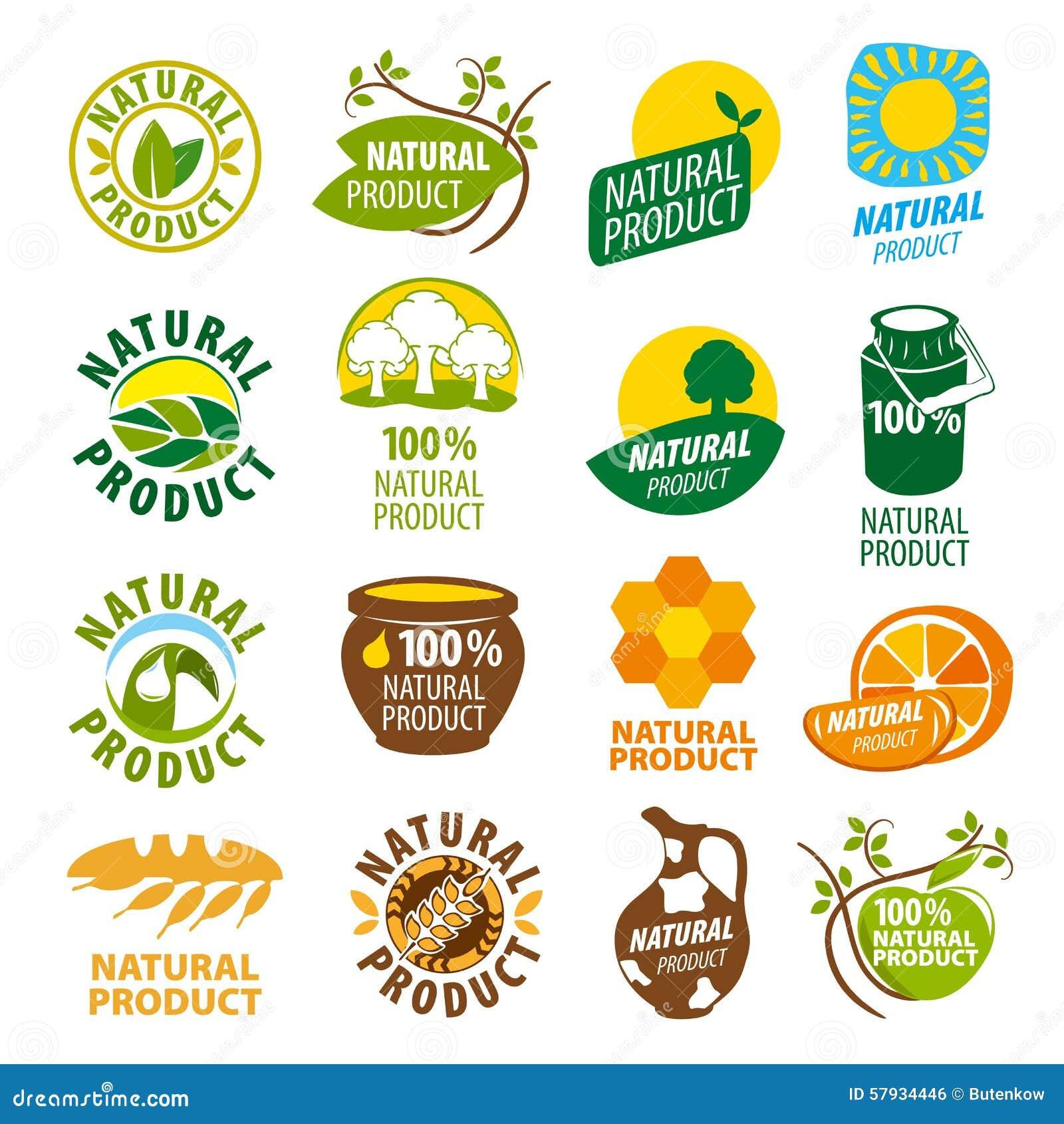 Kolekcja wektorowych logów naturalny produkt