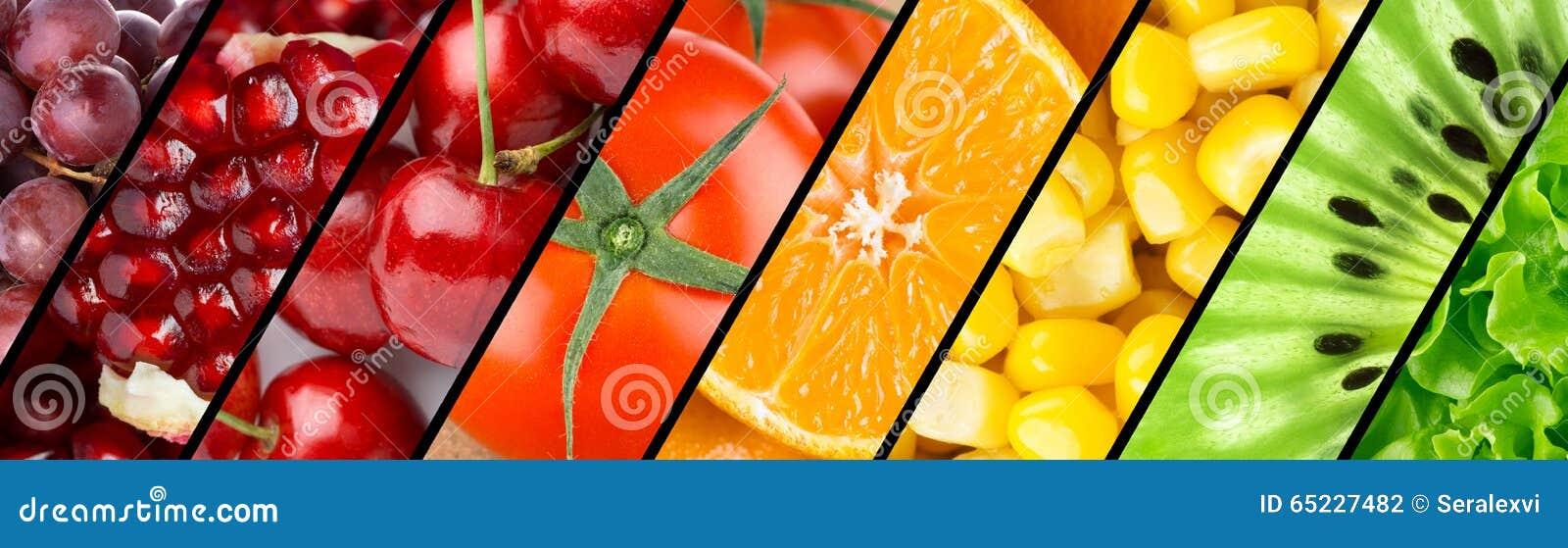 Kolekcja z różnymi owoc, jagodami i warzywami,