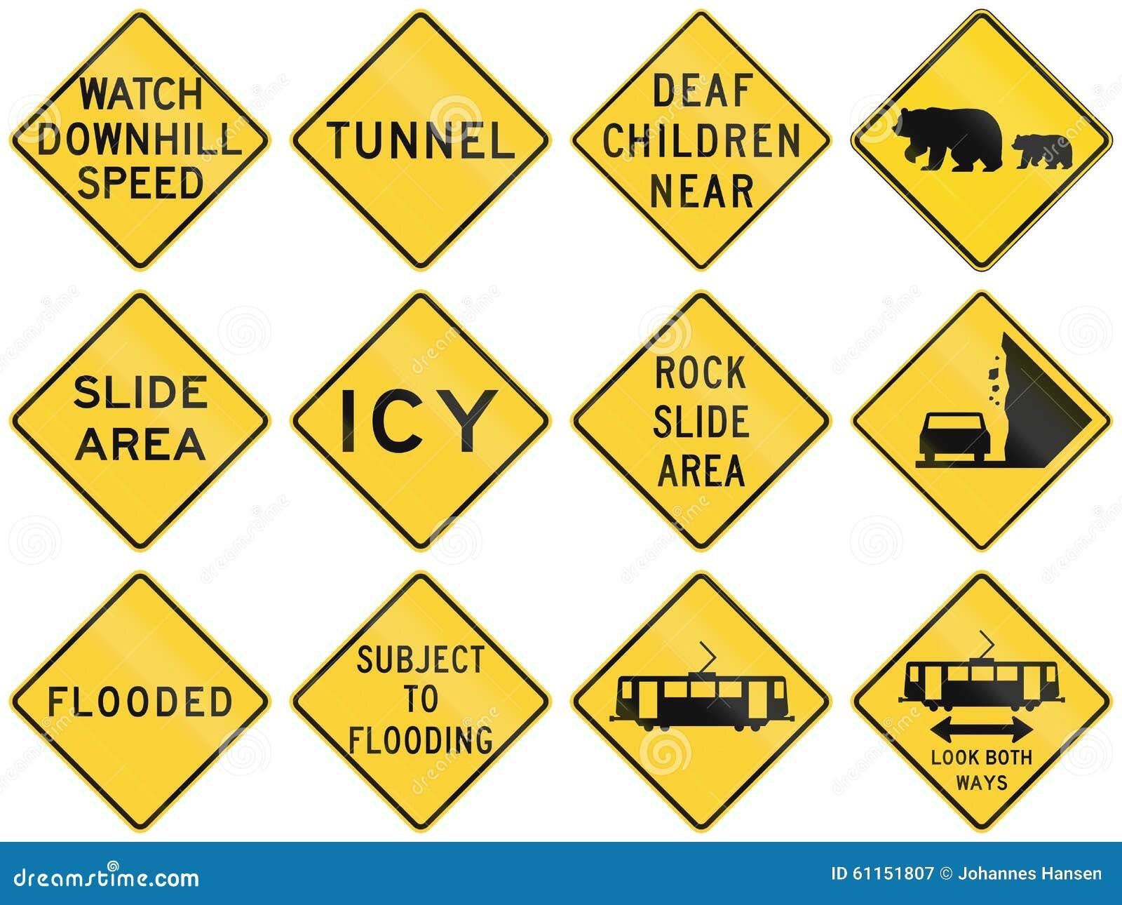 Kolekcja znaki ostrzegawczy używać w usa