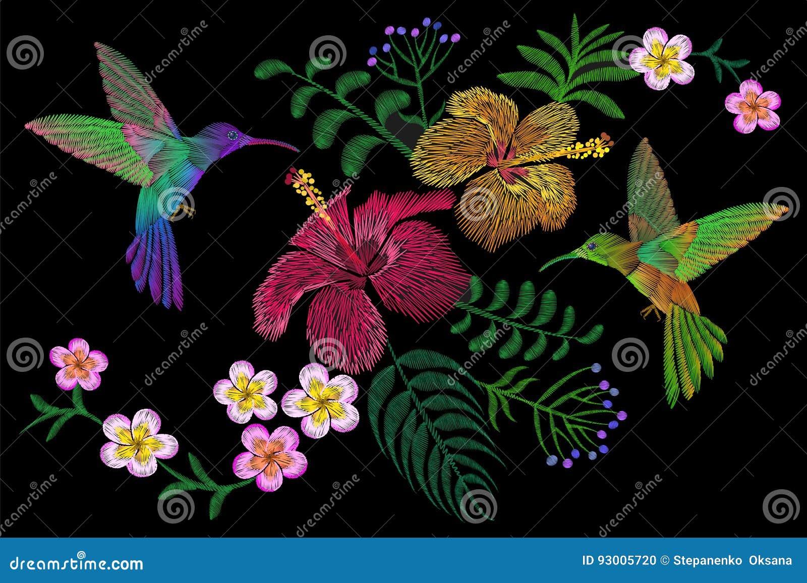 Kolibri runt om blomningen för sommar för blommaplumeriahibiskus den exotiska tropiska Textil för garnering för broderimodelapp