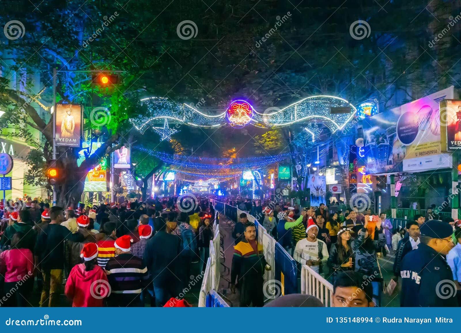 Park Street Kolkata During Christmas.Decorative Lighting At Park Street Kolkata Editorial Stock