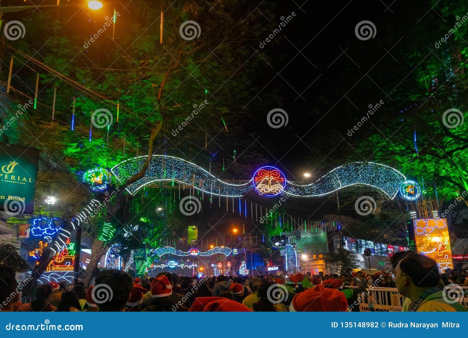 Park Street Kolkata During Christmas.Decorative Lighting At Park Street Kolkata Editorial
