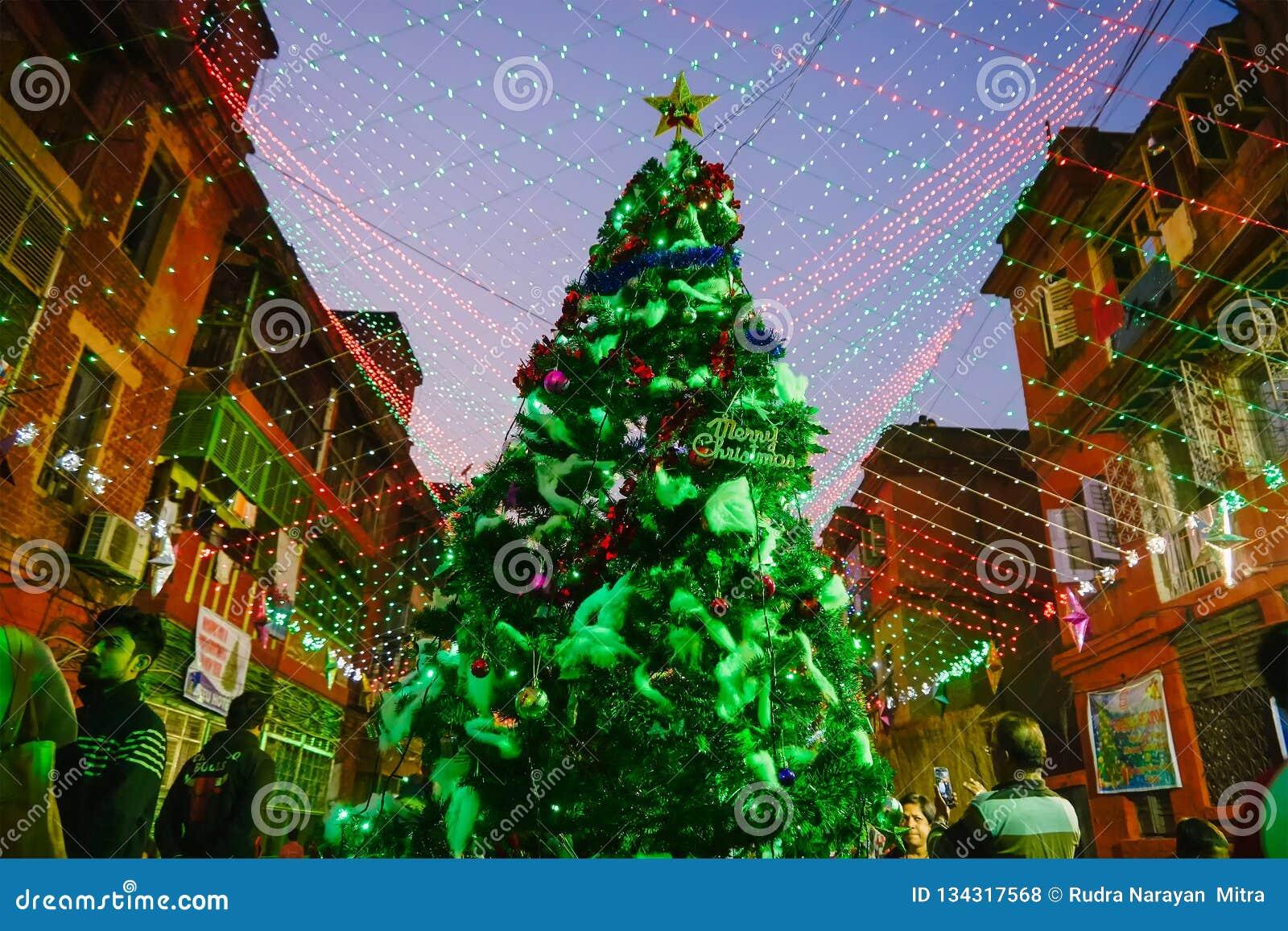 Christmas Tree In India.Big Christmas Tree Decorated At Night At Kolkata Editorial