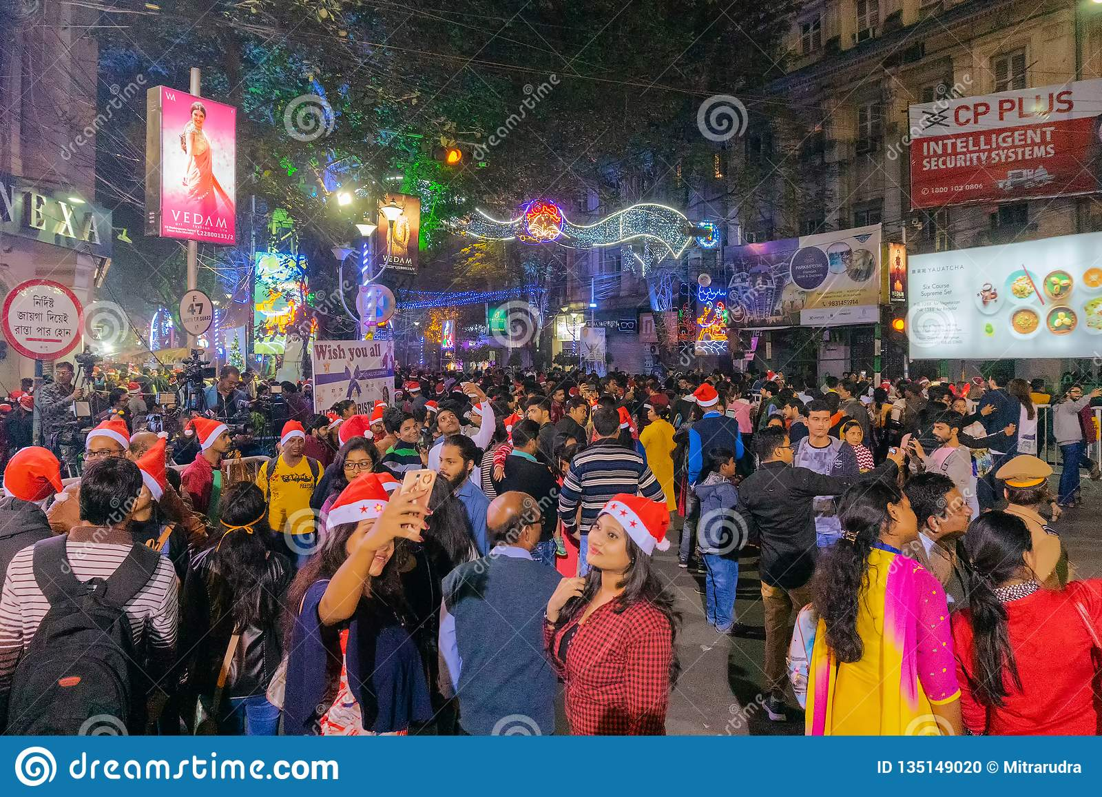 Park Street Kolkata During Christmas.Decorative Lighting At Park Street Kolkata Editorial Image
