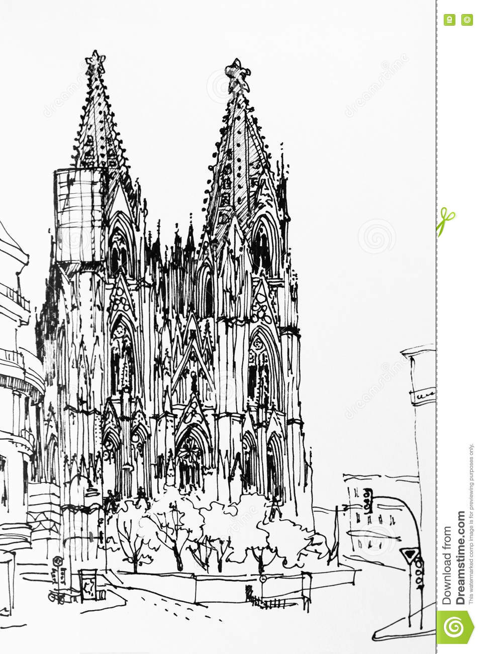 Download Koln Cologne Dome Gothic Church Speed Drawing Architectural In Stock Illustration