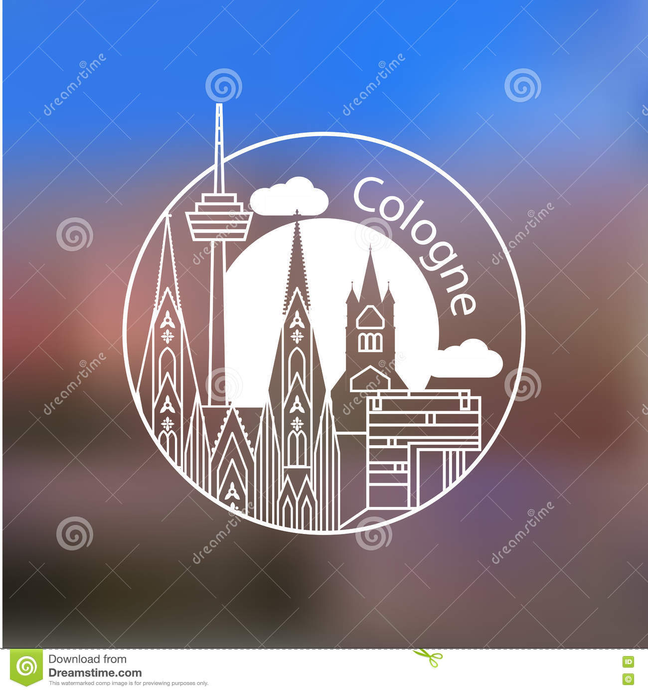 Koln vector linear logo. Trendy stylish landmarks. Great St. Martin Church,  Cologne