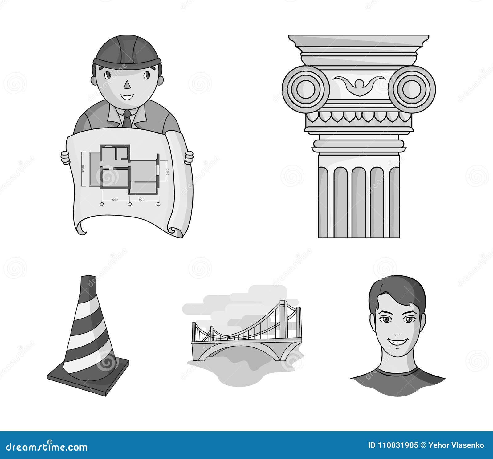 Kolom, meester met tekening, brug, indexkegel Pictogrammen van de architectuur de vastgestelde inzameling in zwart-wit stijl vect